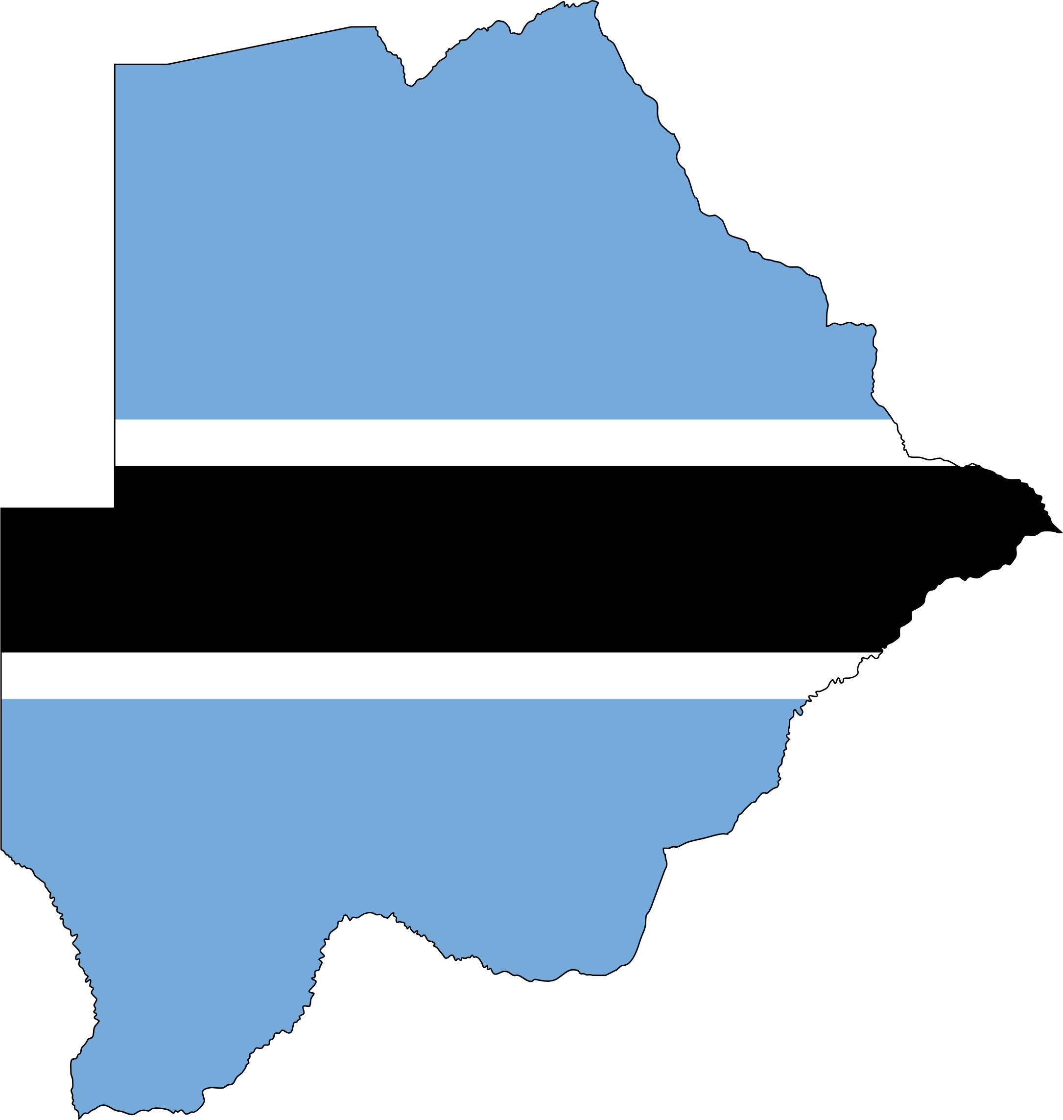 Botswana Flag Map With Stroke by GDJ