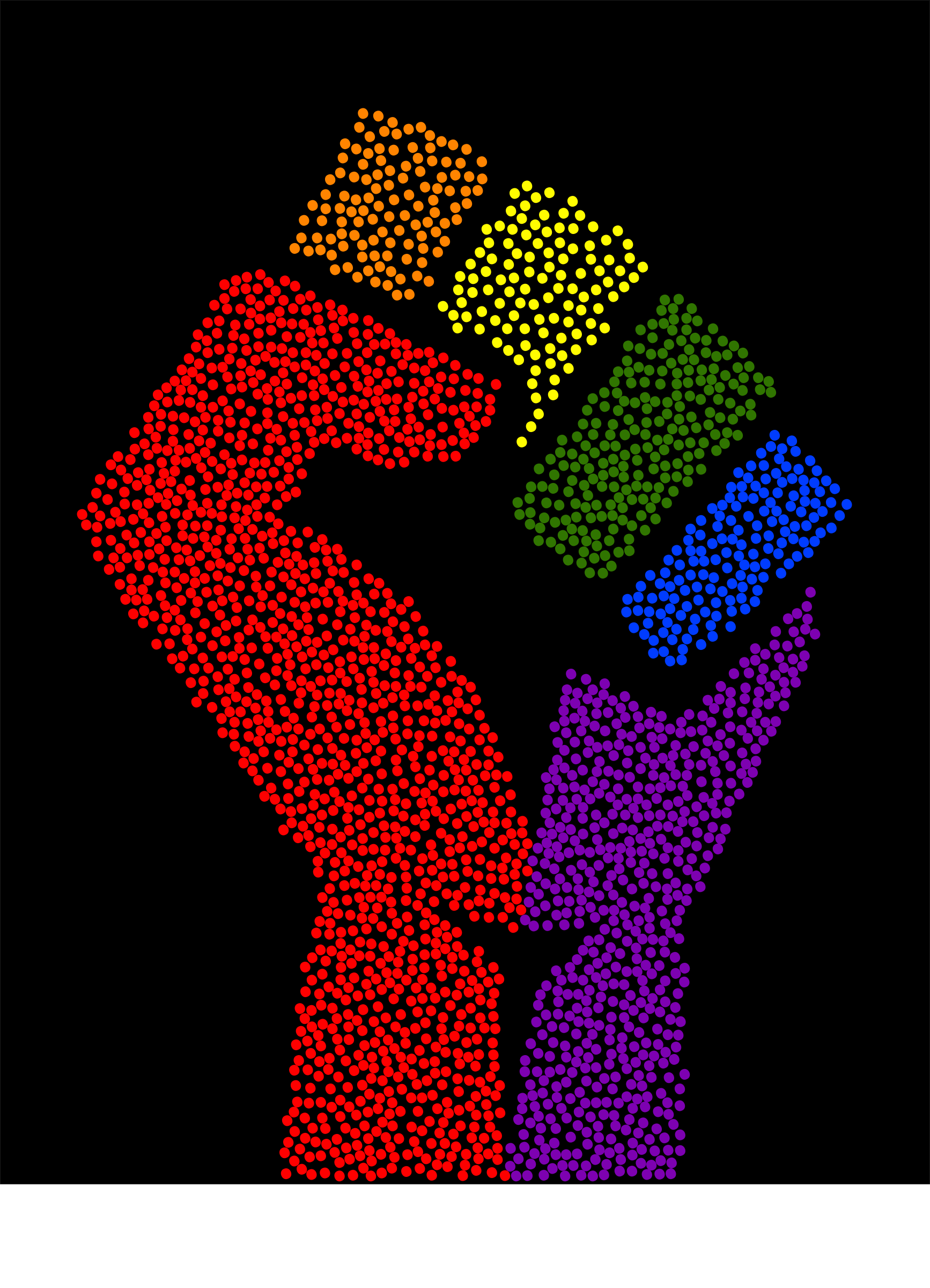 Rainbow fist (stippled, black background) by Firkin
