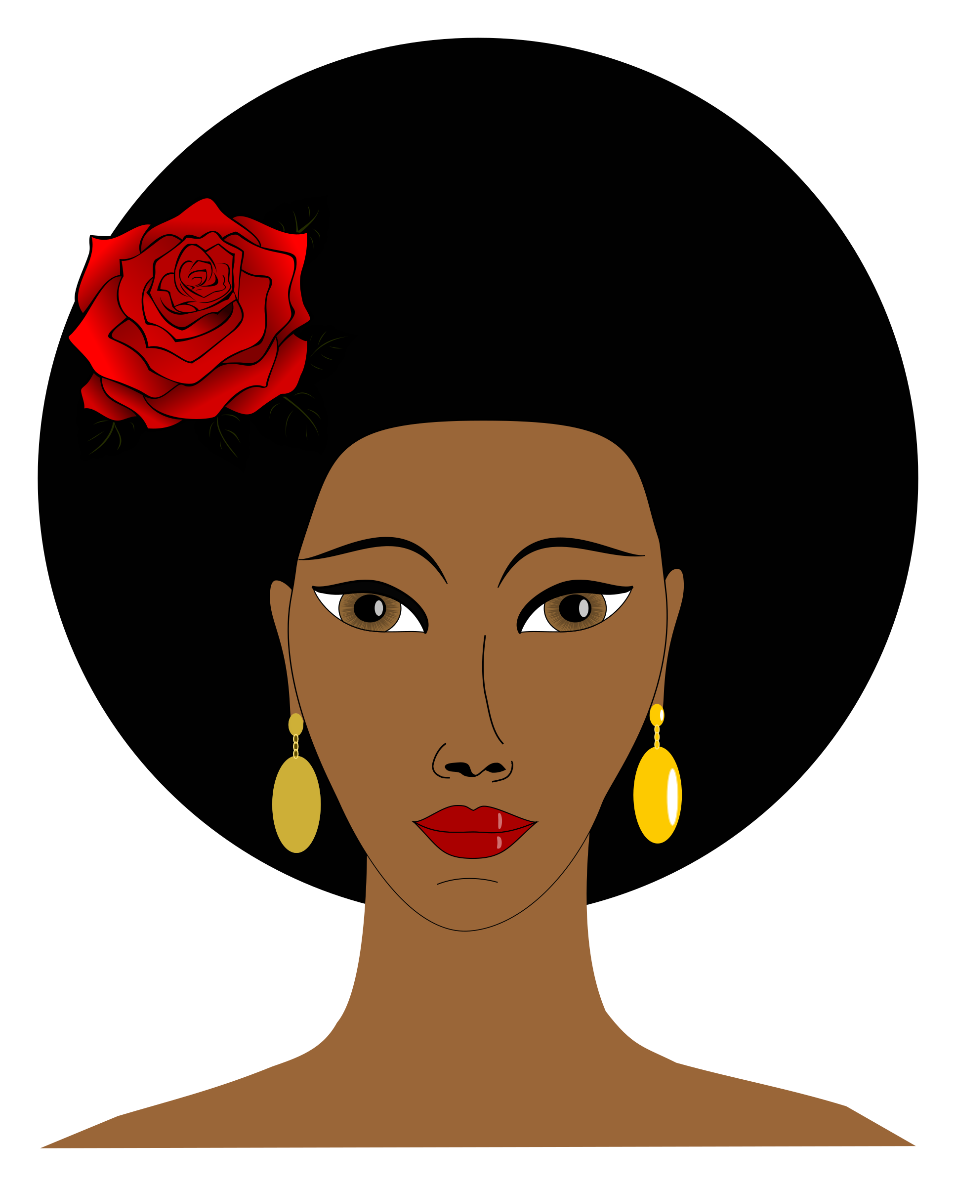 Clipart - Black woman with a rose
