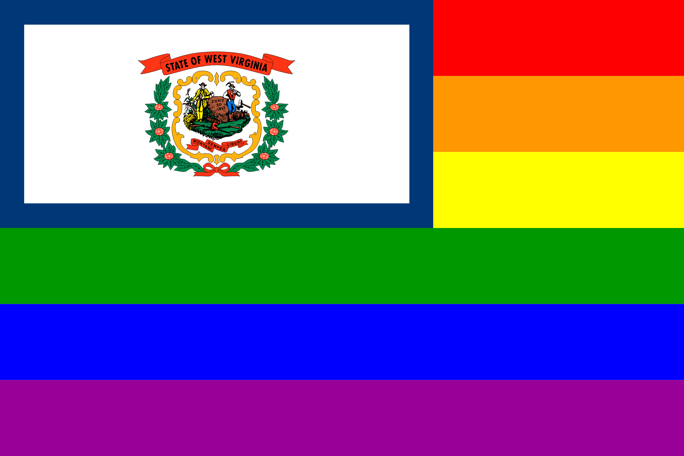West Virginia Rainbow Flag by AdamStanislav