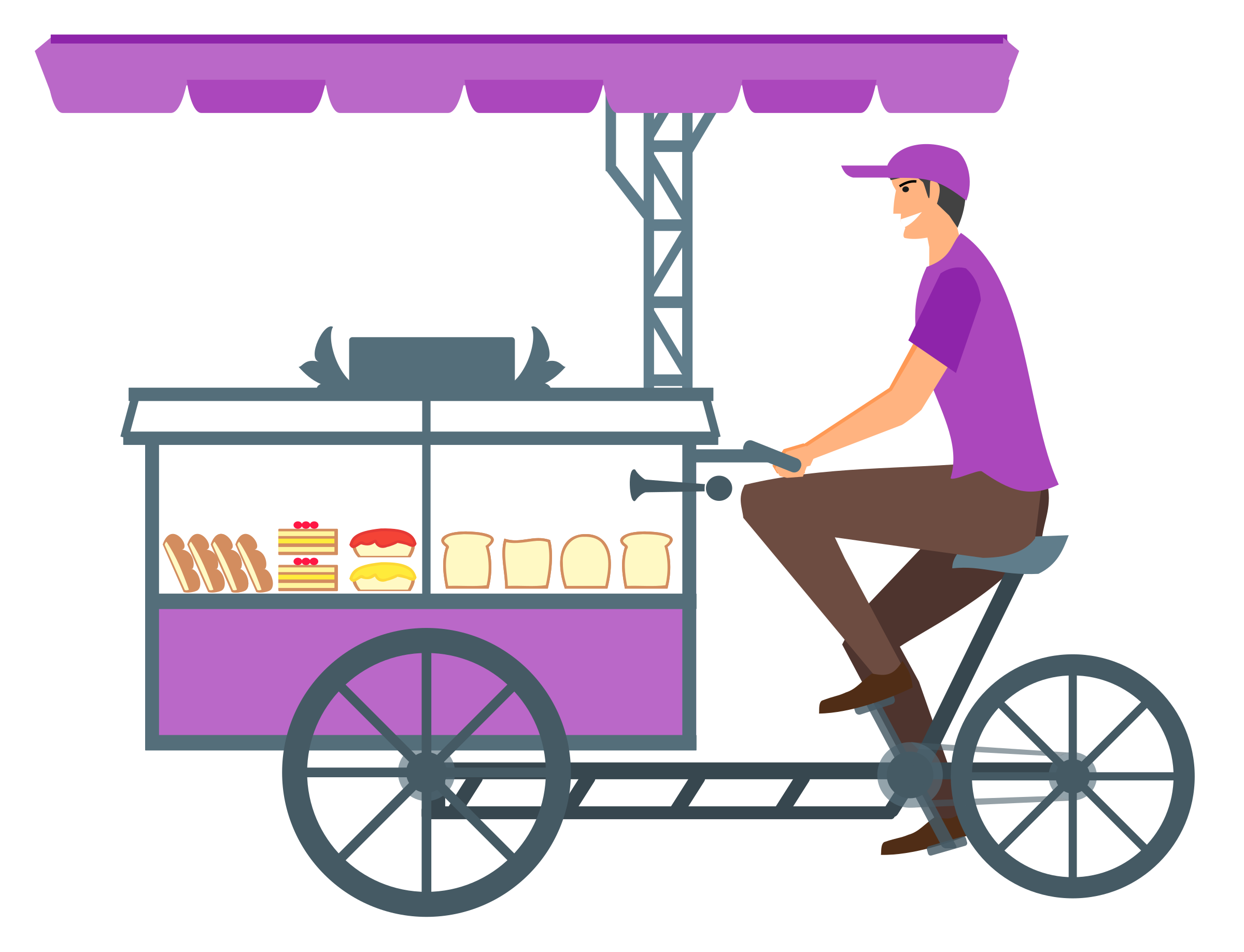 Bread Seller with Advanced Cycle cart by Vexagrafi
