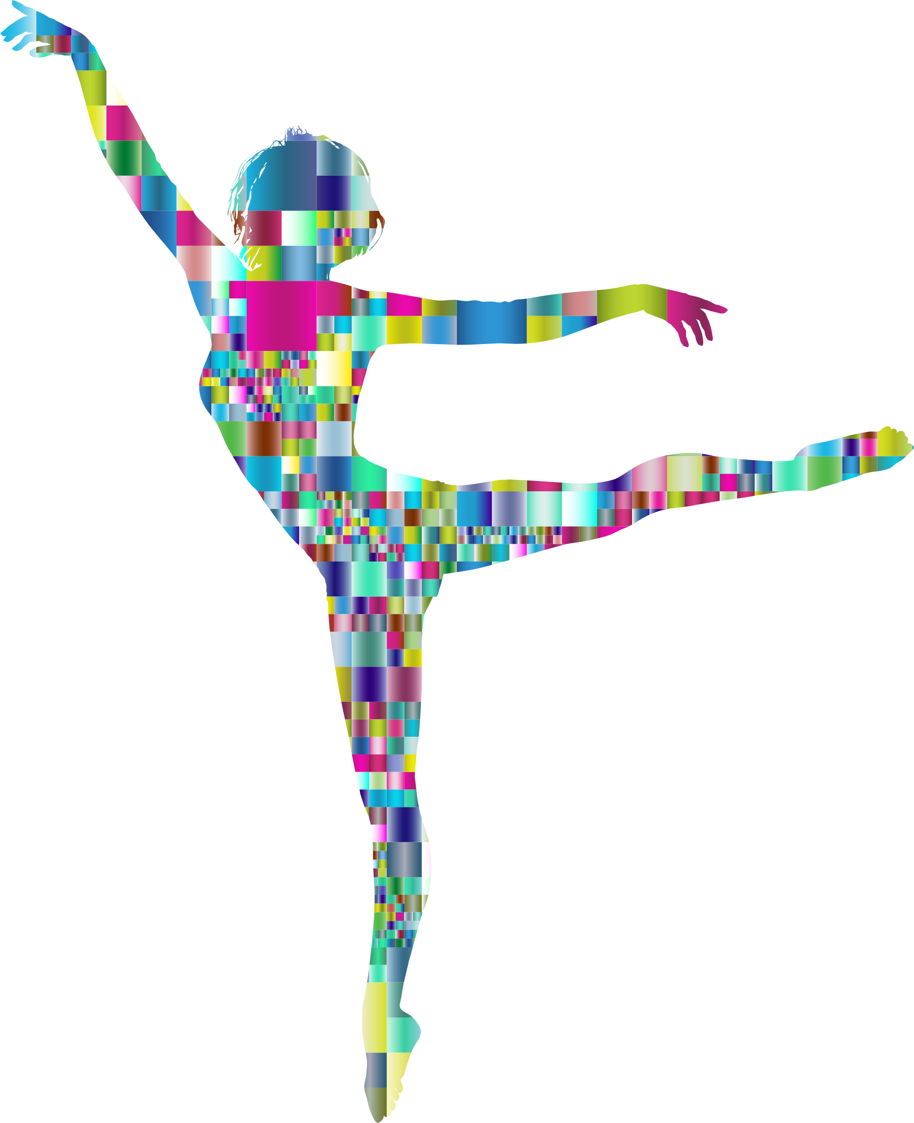 Prismatic Mosaic Lithe Dancing Woman Silhouette by GDJ