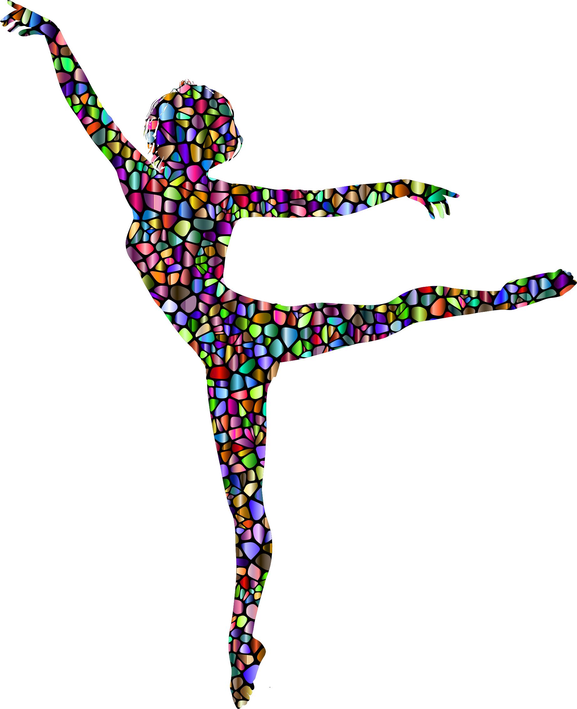 Polychromatic Tiled Lithe Dancing Woman Silhouette by GDJ