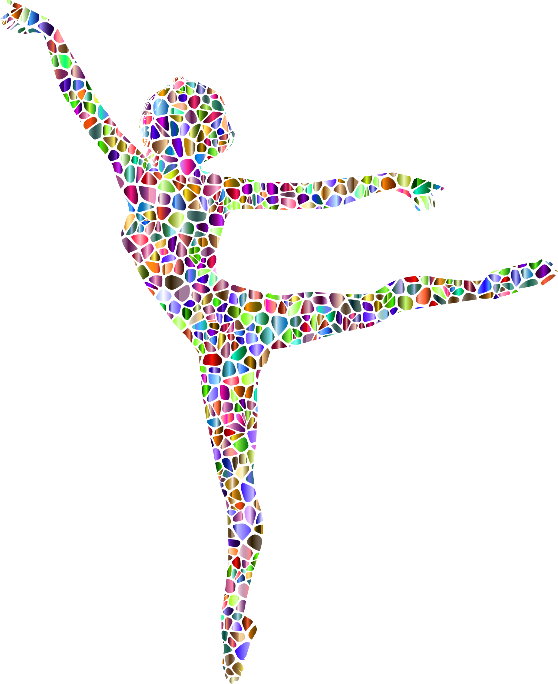 Polychromatic Tiled Lithe Dancing Woman Silhouette No Background by GDJ