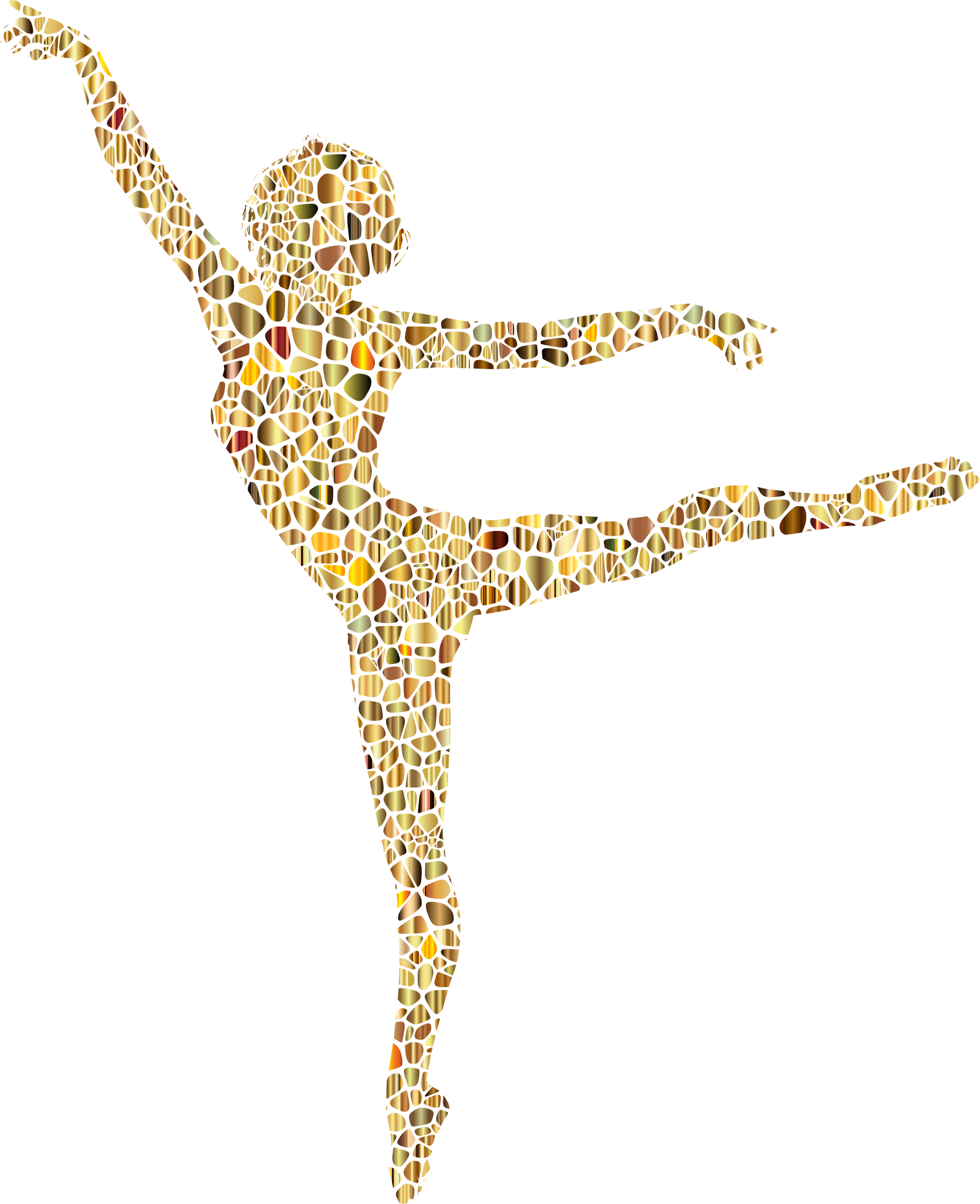 Polychromatic Tiled Lithe Dancing Woman Silhouette 3 No Background by GDJ