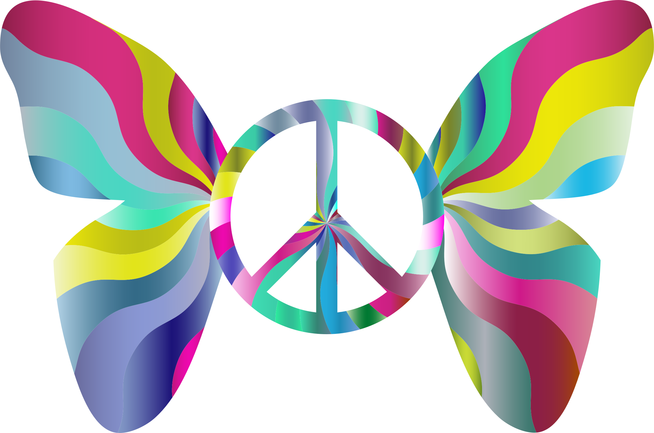 Clipart - Groovy Peace Sign Butterfly 5