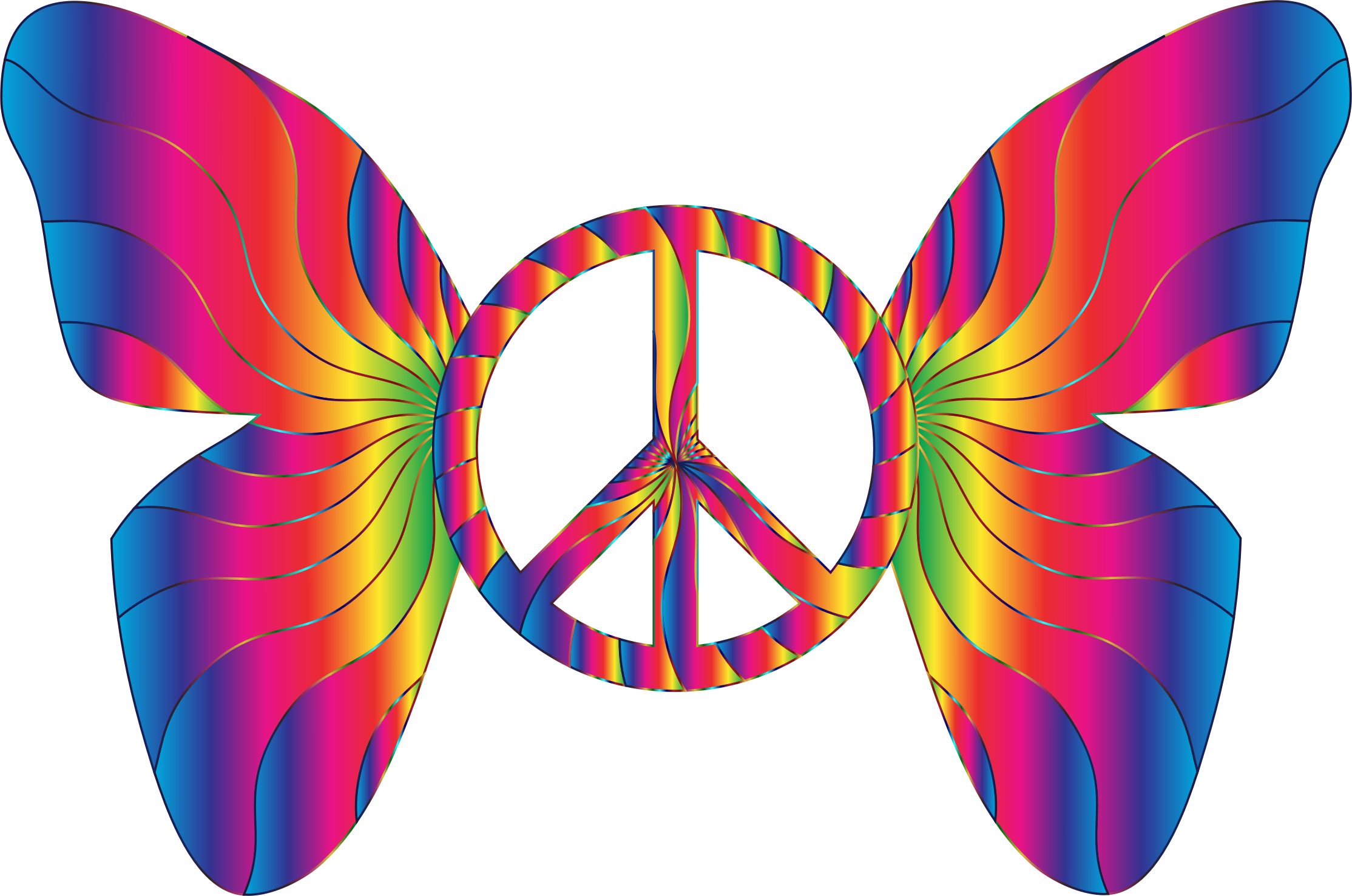 clipart groovy peace sign butterfly 14