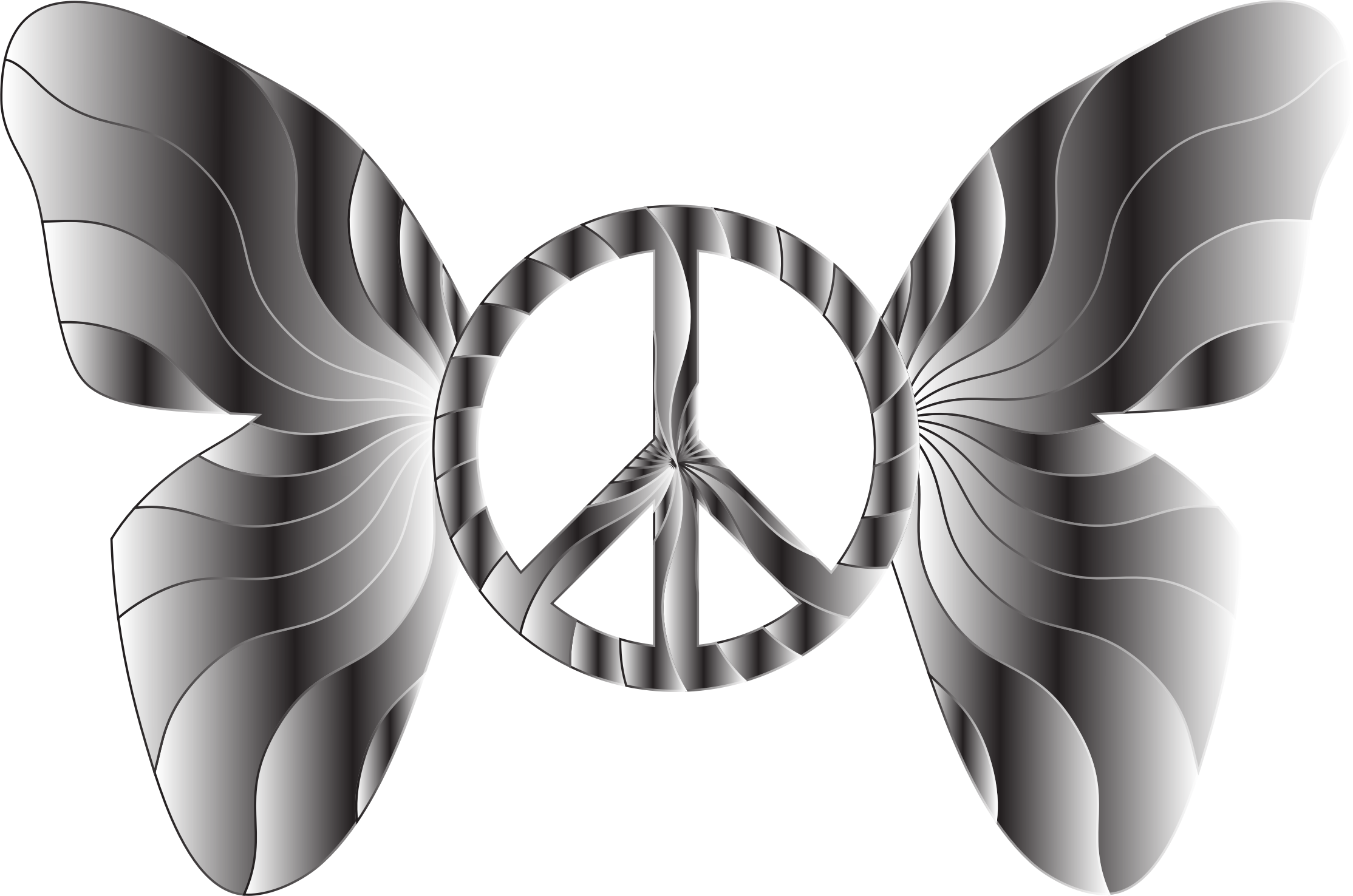 Groovy Peace Sign Butterfly 15 by GDJ