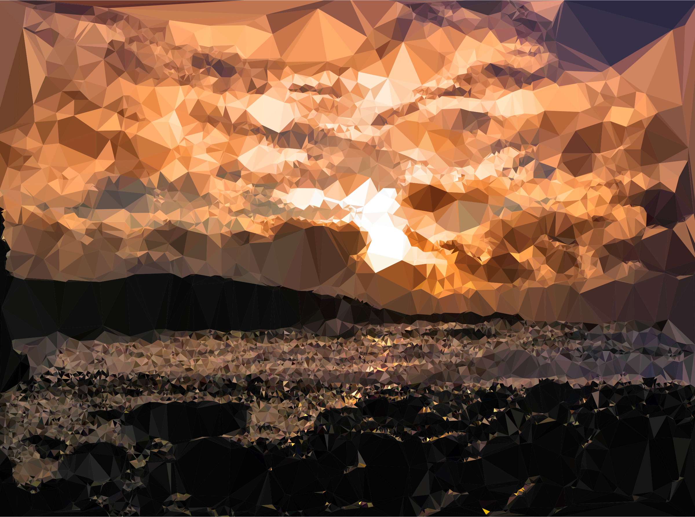Low Poly Black Rocks Beach Sunset by GDJ