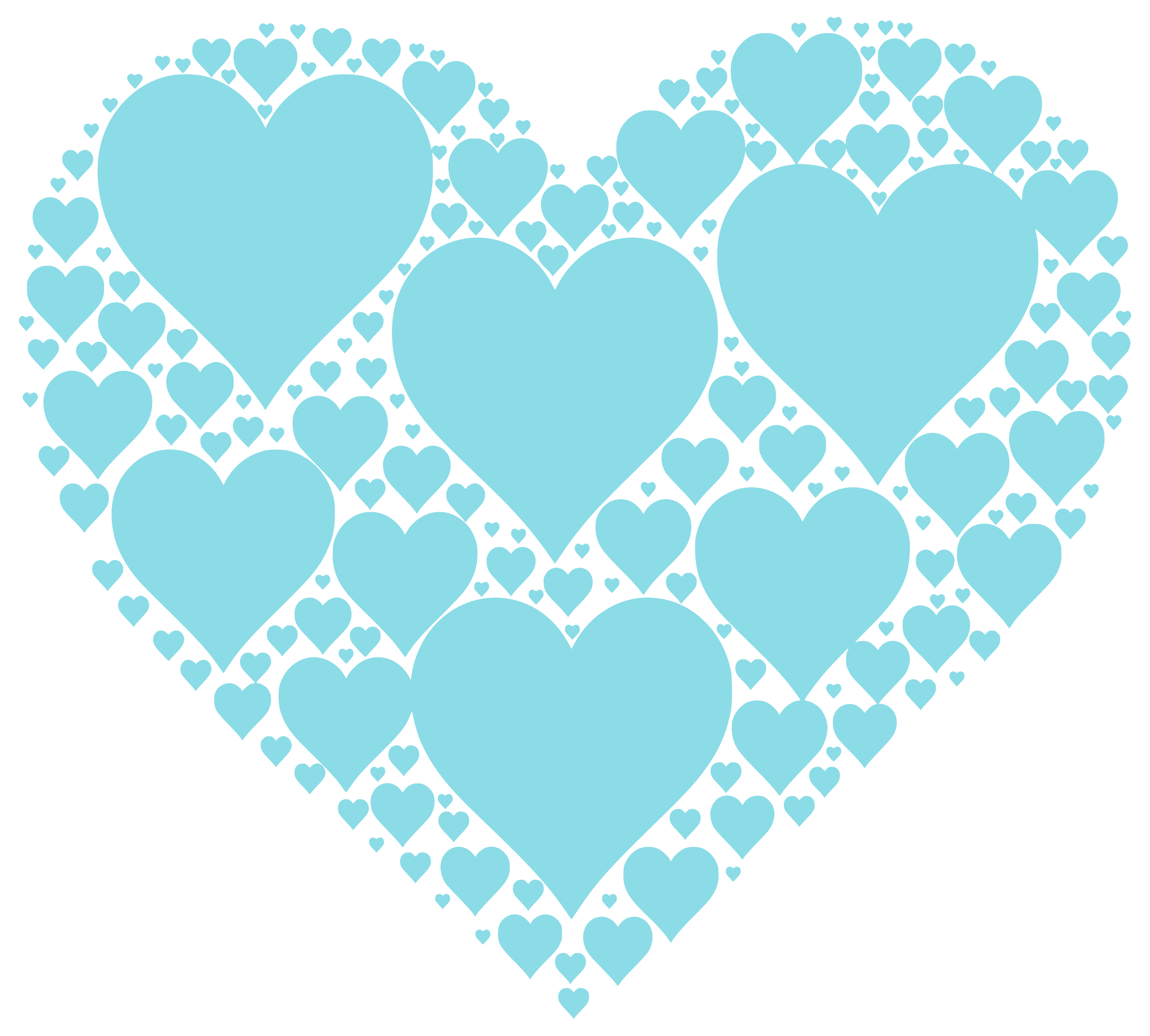 Hearts In Heart - Cyan by phidari