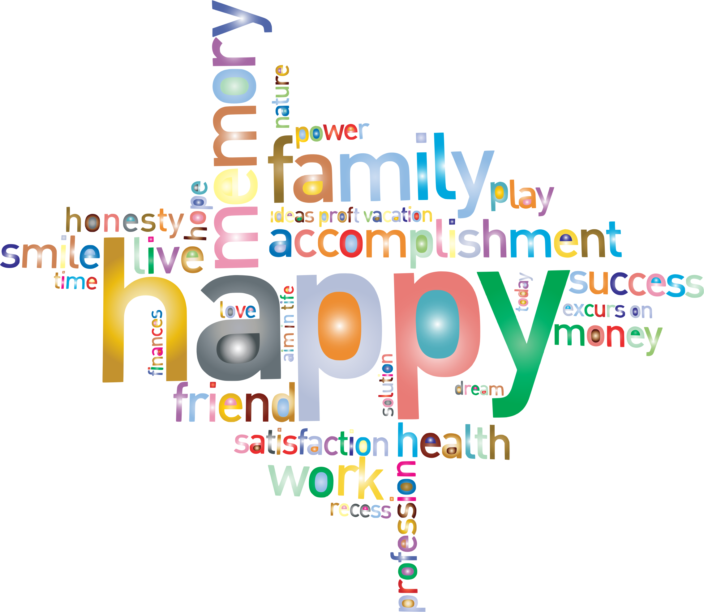 Prismatic Happy Family Word Cloud 2 No Background by GDJ