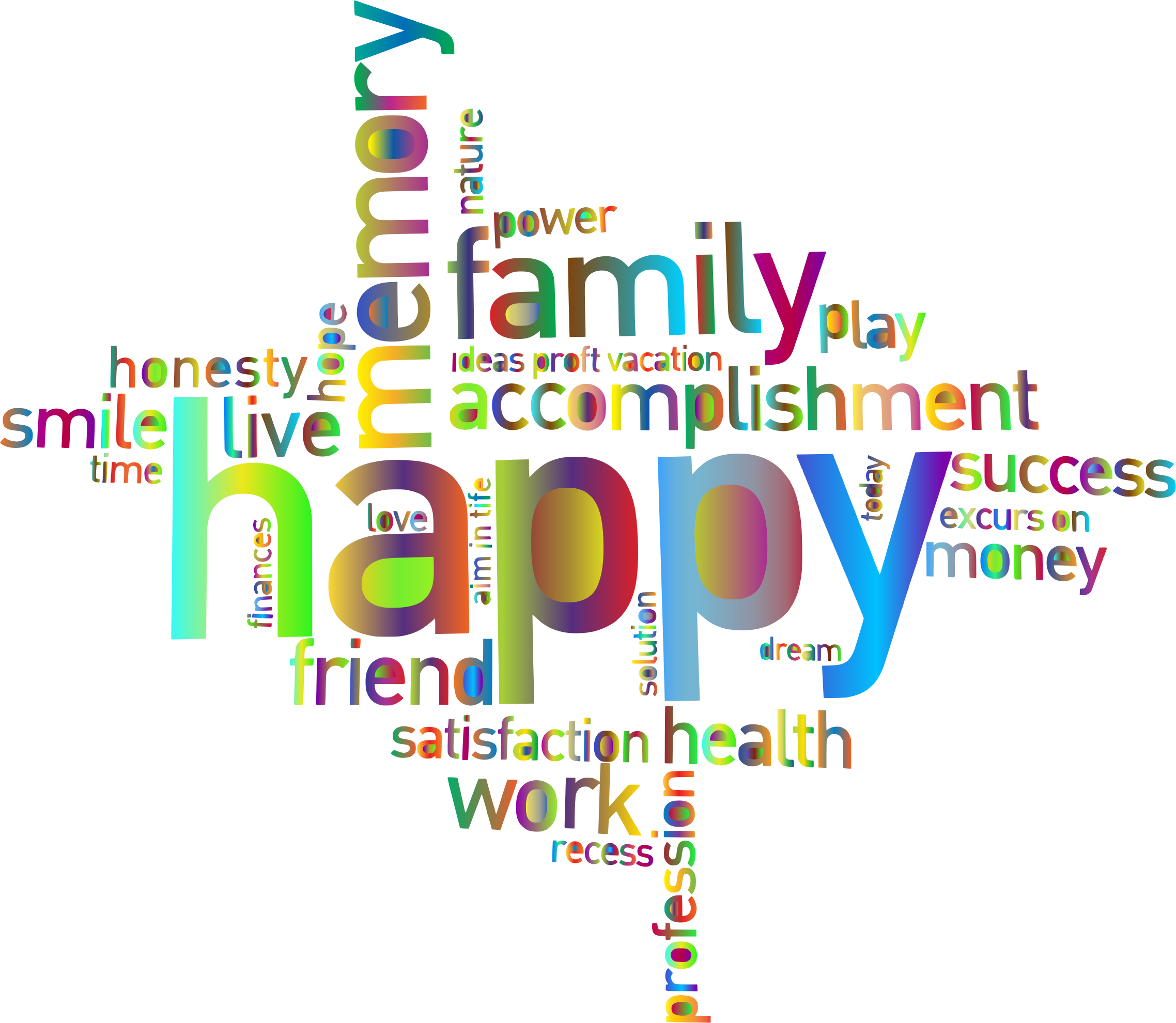 Prismatic Happy Family Word Cloud 3 No Background by GDJ