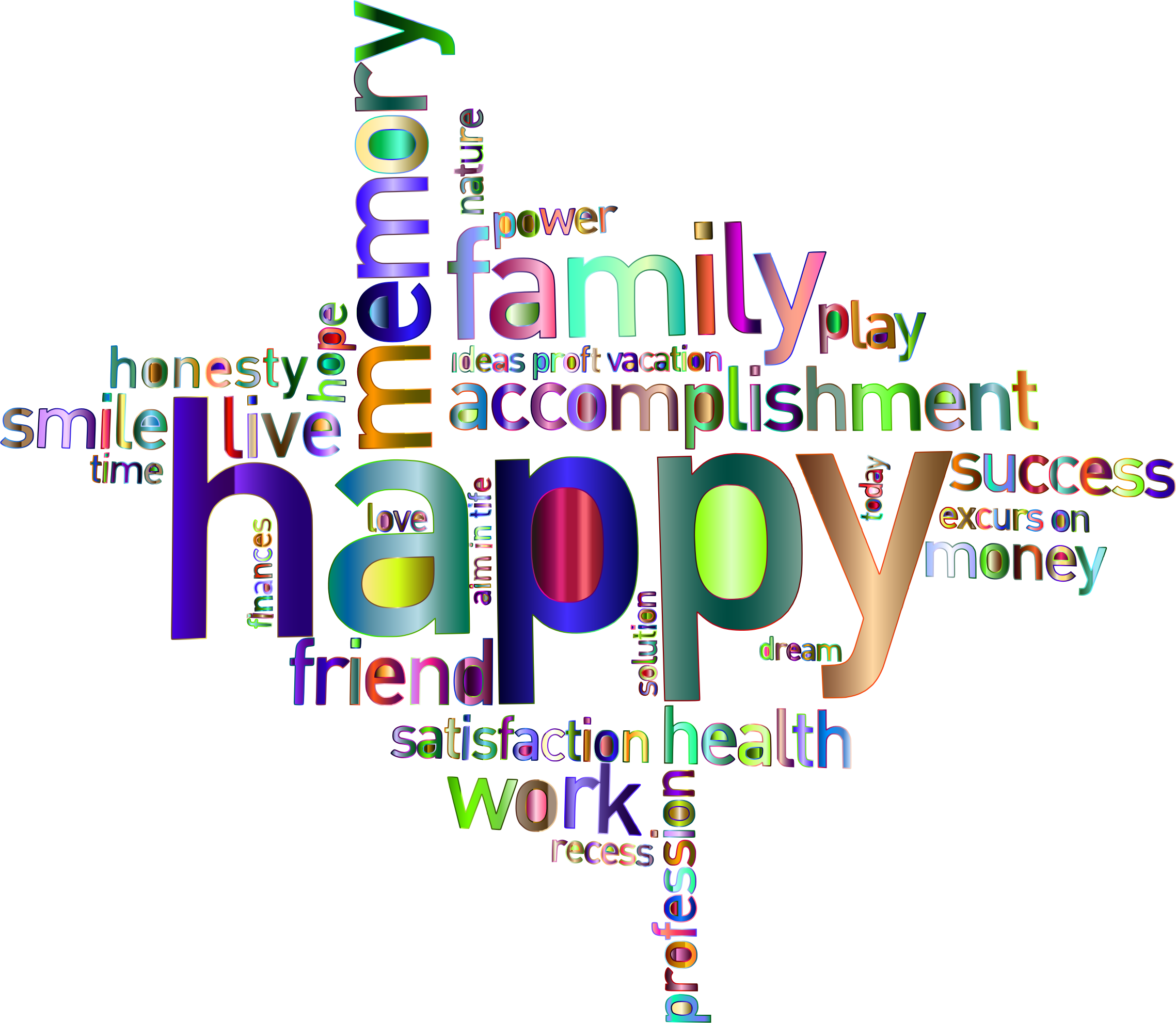 Clipart - Prismatic Happy Family Word Cloud 4 No Background