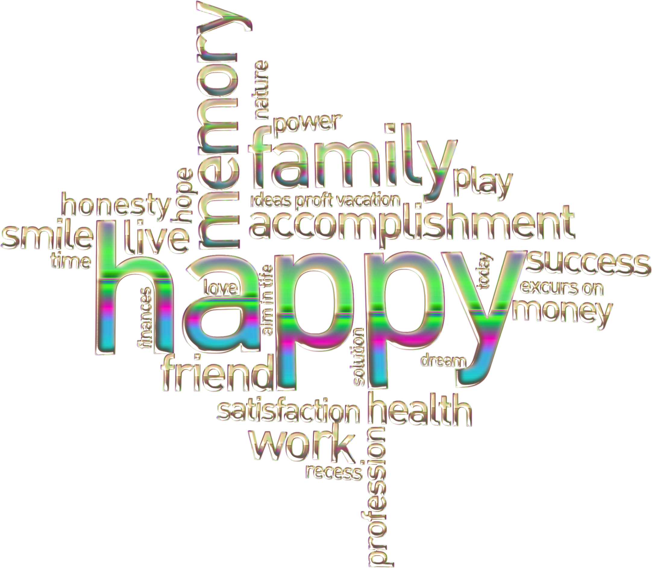 Happy Family Word Cloud Enhanced No Background by GDJ