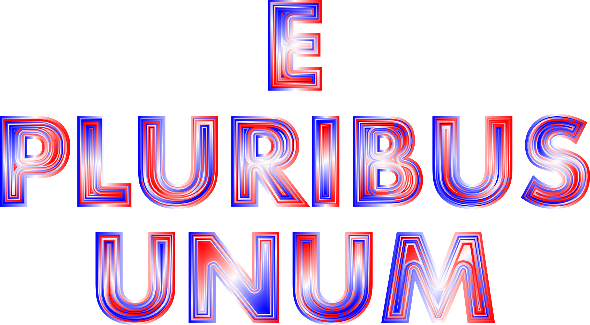 E Pluribus Unum Red White Blue Typography 2 No Background by GDJ