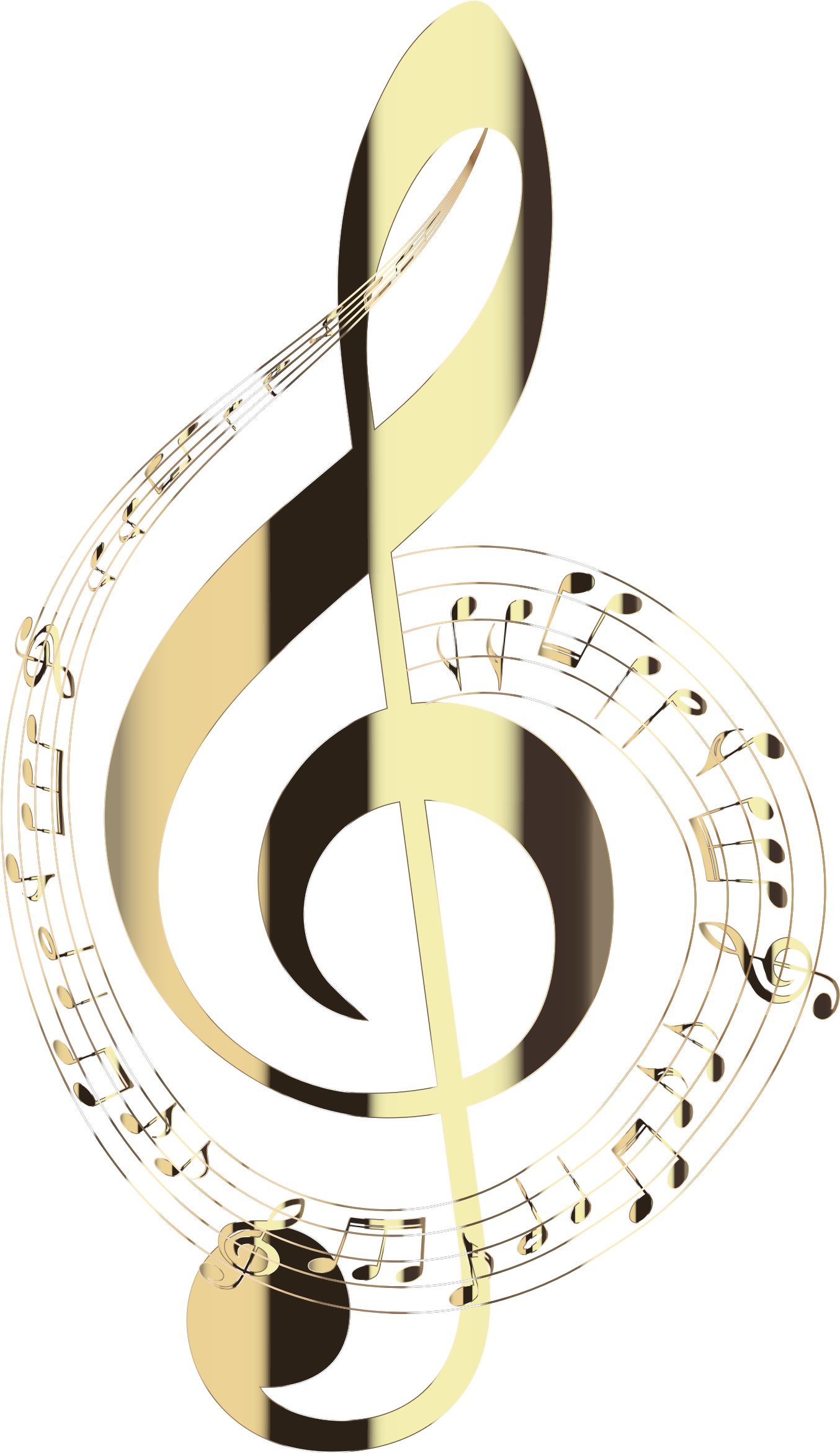 Polished Brass Musical Notes Typography No Background by GDJ
