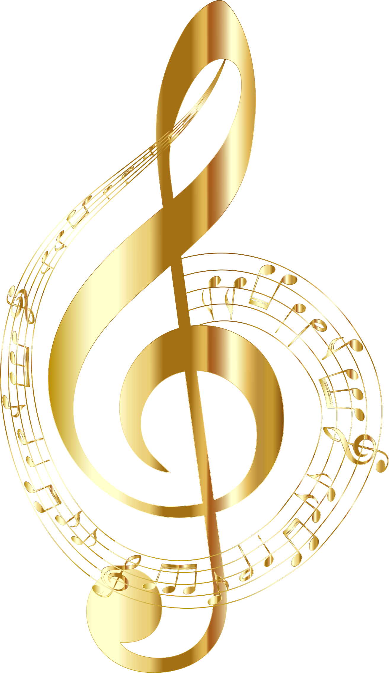 Gold Musical Notes Typography No Background by GDJ