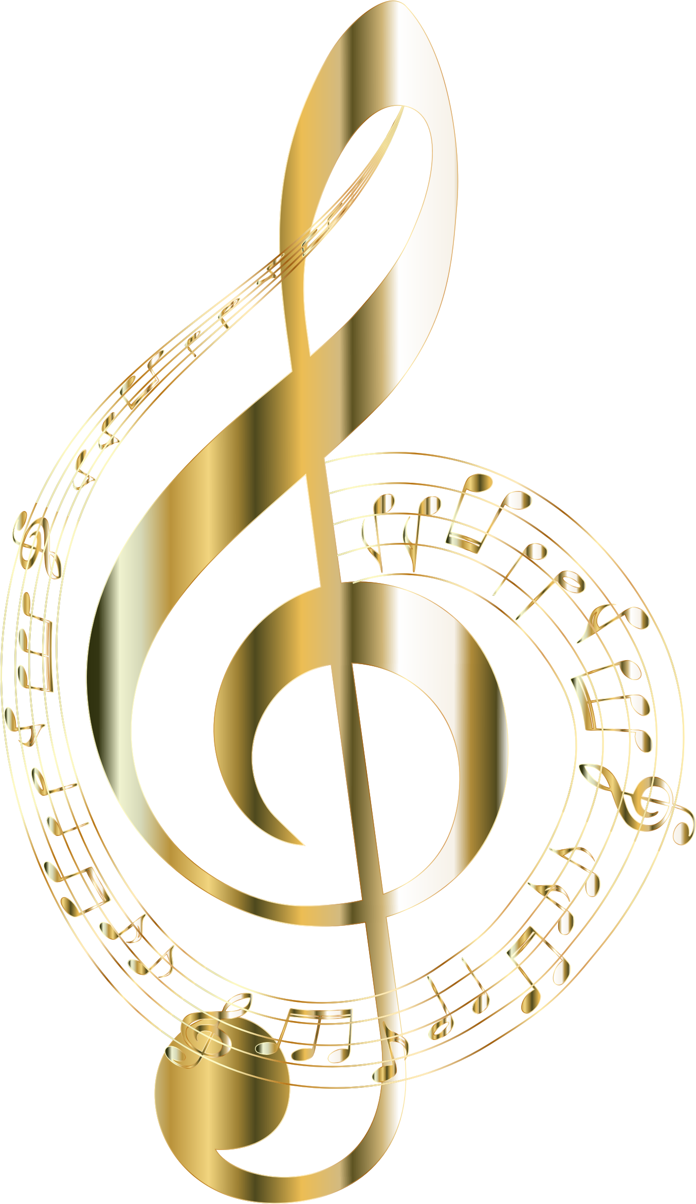 Clipart - Gold Musical Notes Typography 2 No Background