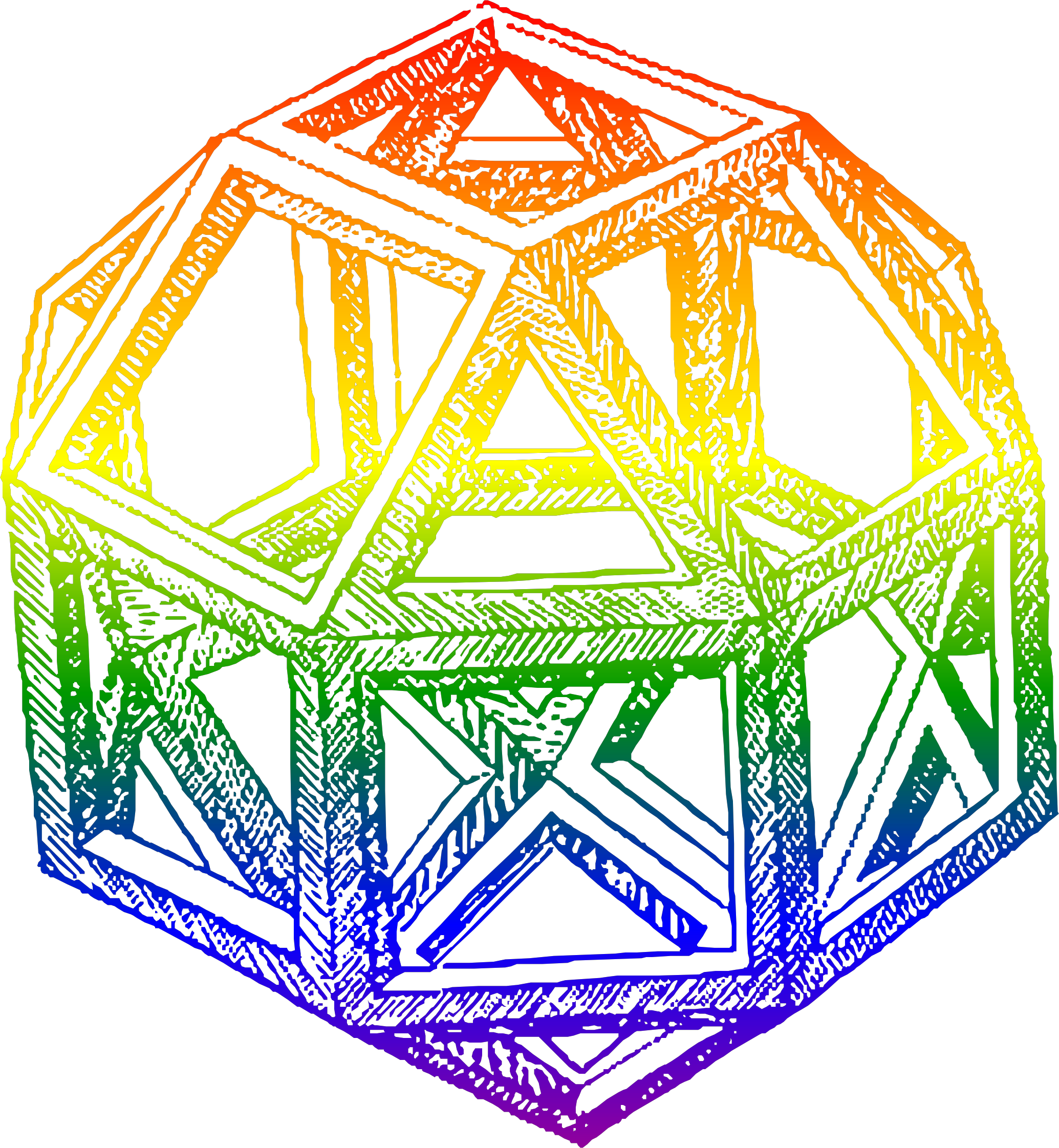 Rhombicuboctahedron, by Leonardo da Vinci, in a Blend of Rainbow Colors by AdamStanislav