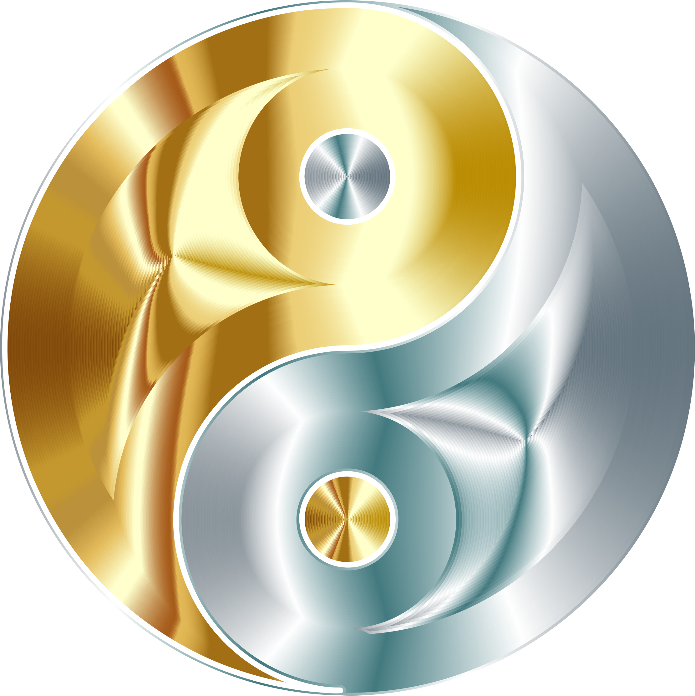 Gold And Silver Yin Yang No Background by GDJ