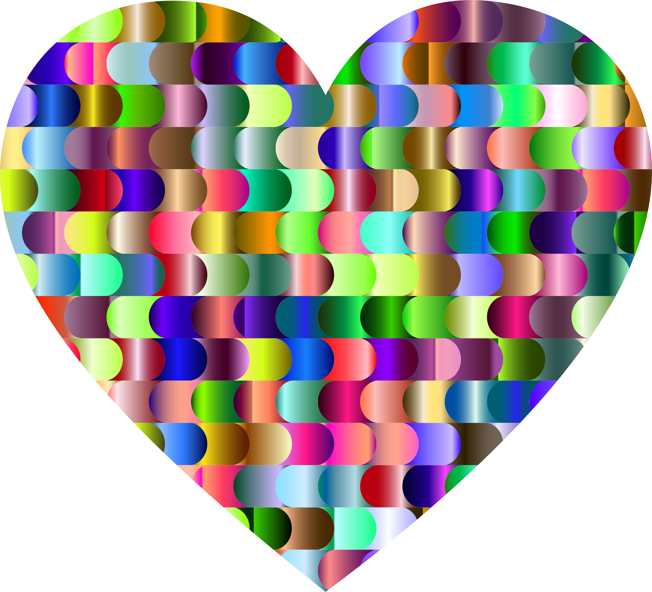 Prismatic Interlocking Waves Heart by GDJ