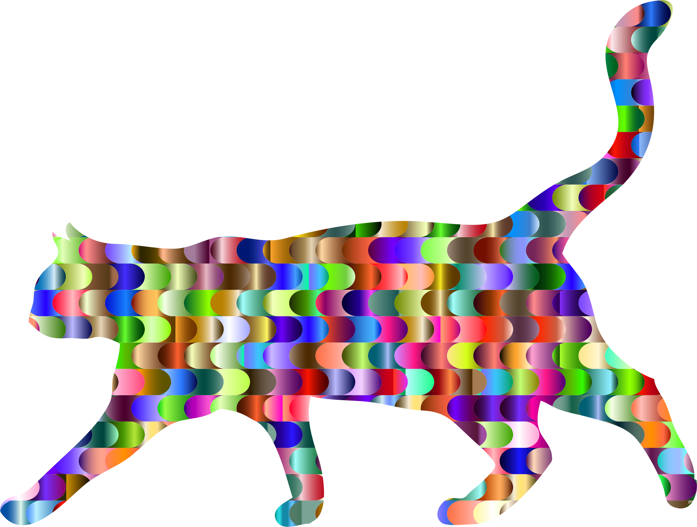 Prismatic Interlocking Waves Cat by GDJ
