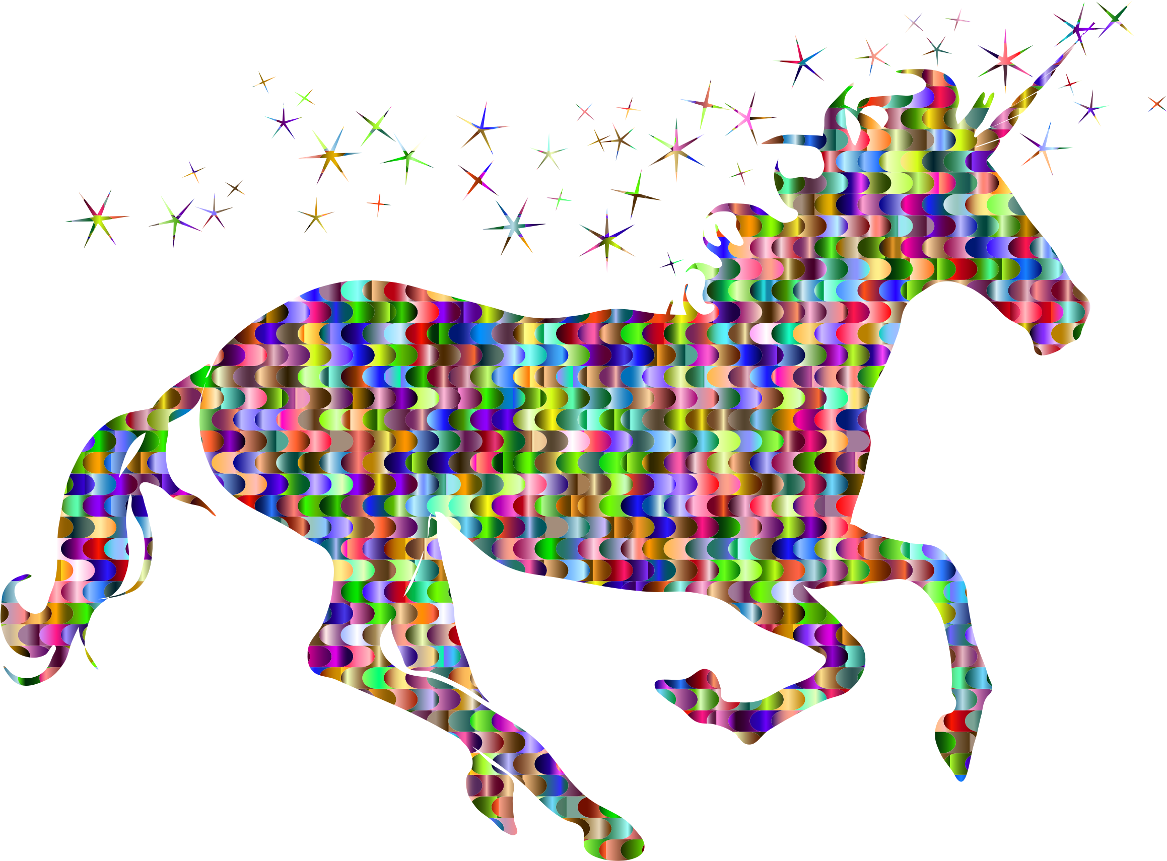 Prismatic Interlocking Waves Magical Unicorn by GDJ