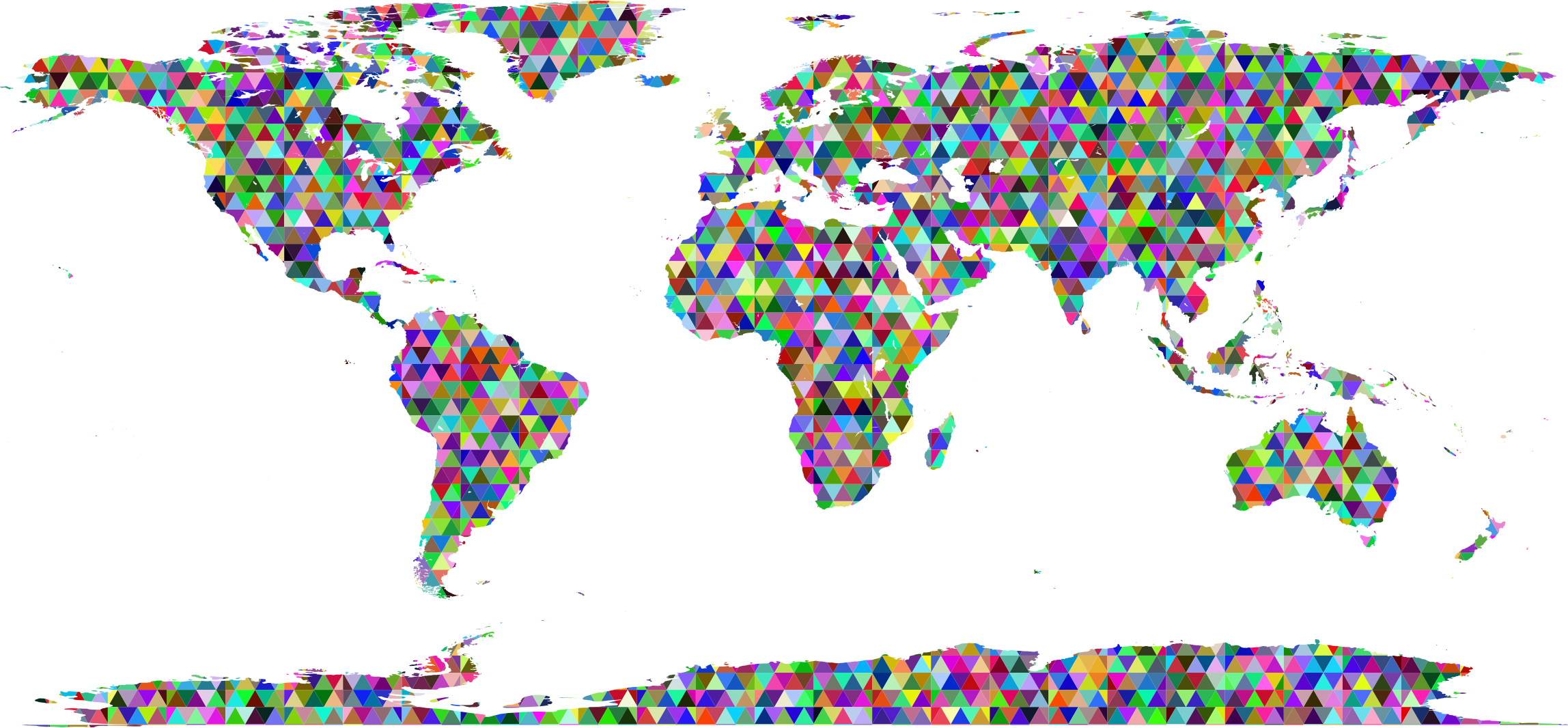 Prismatic Triangularized World Map by GDJ