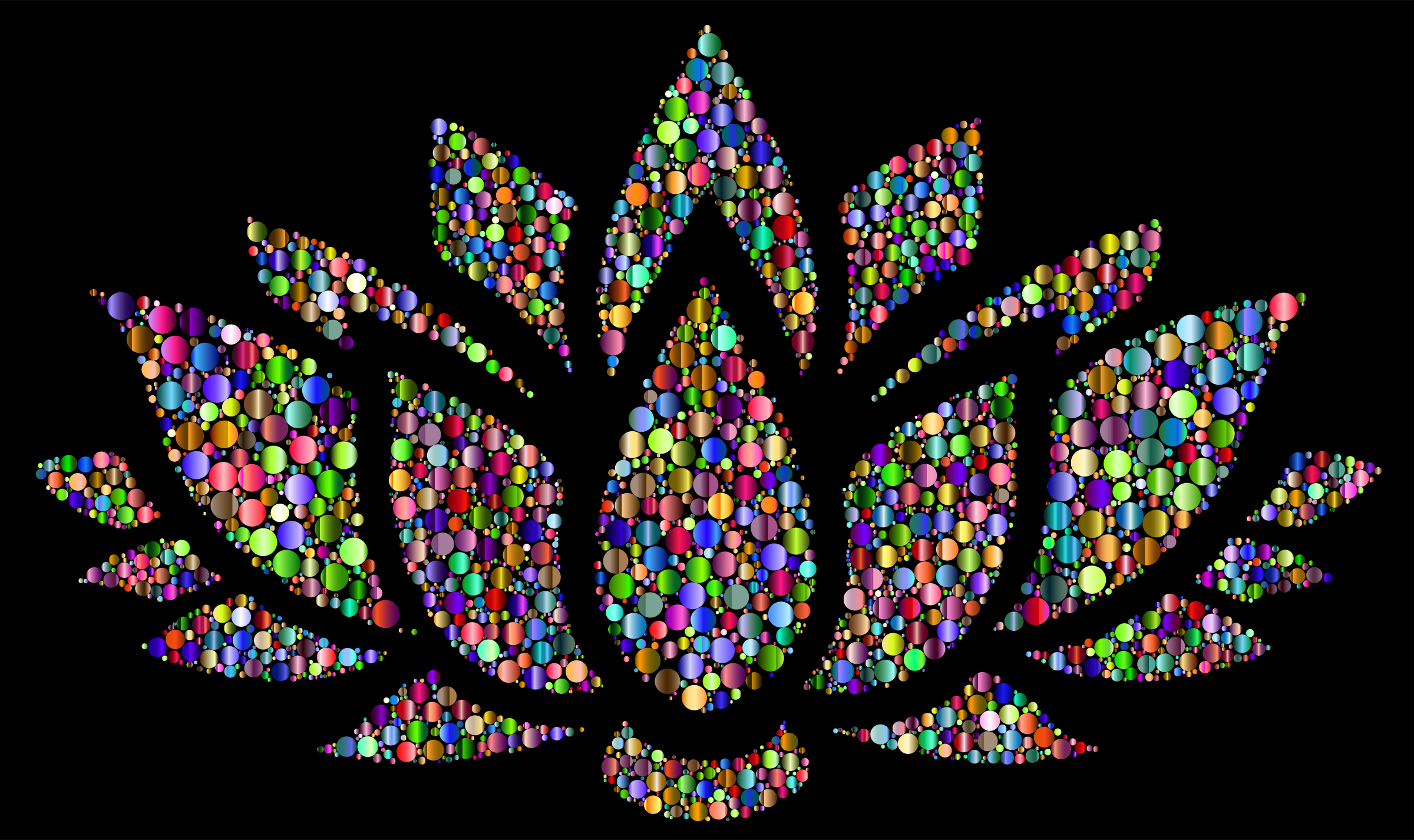 Clipart Prismatic Lotus Flower Silhouette 6 Circles 6