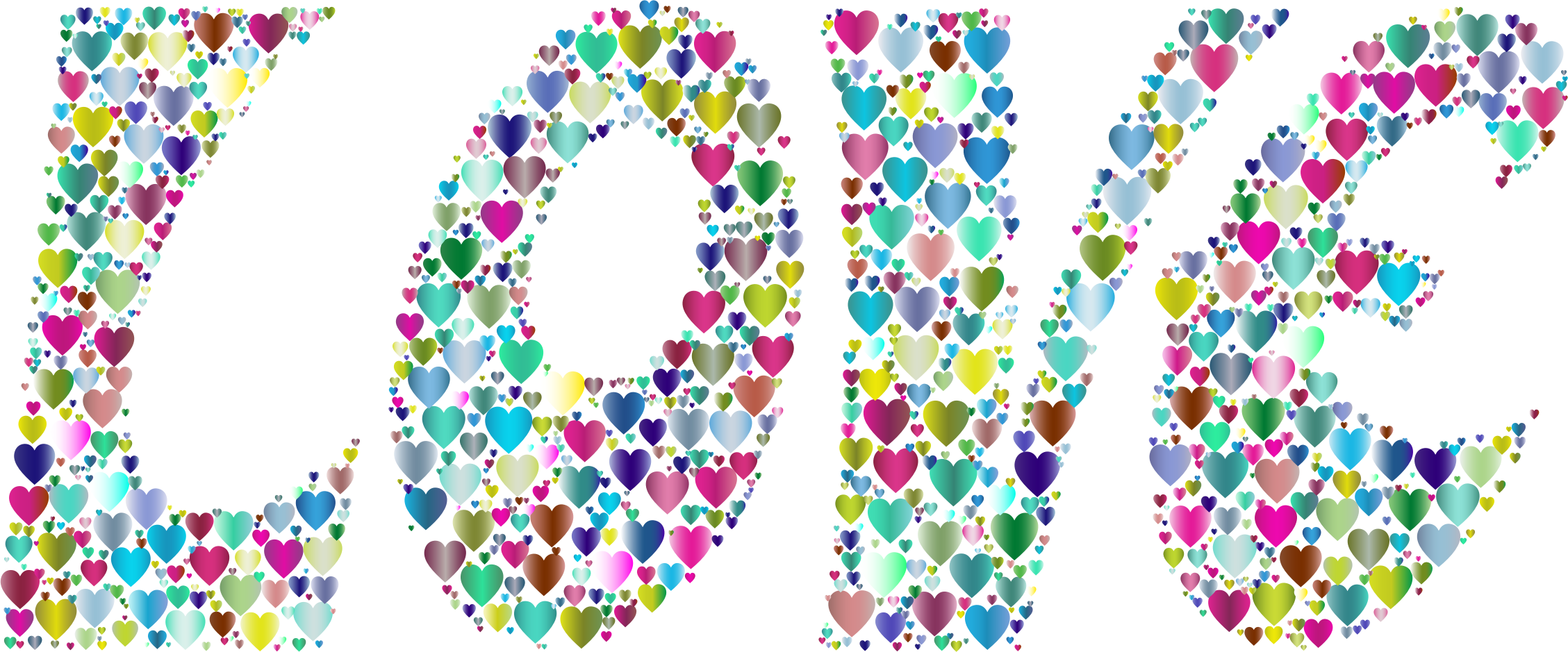 Prismatic Love Hearts Typography 2 by GDJ