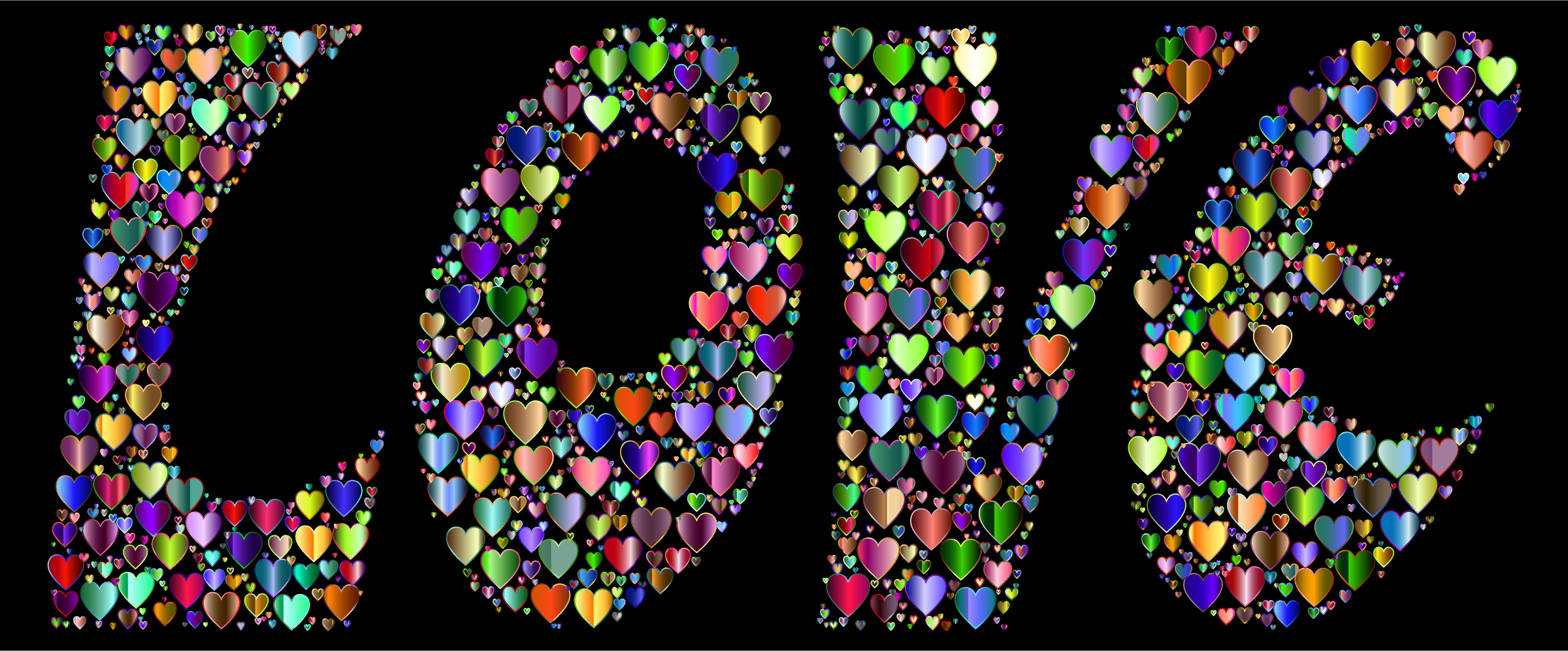Prismatic Love Hearts Typography 4 Variation 2 by GDJ