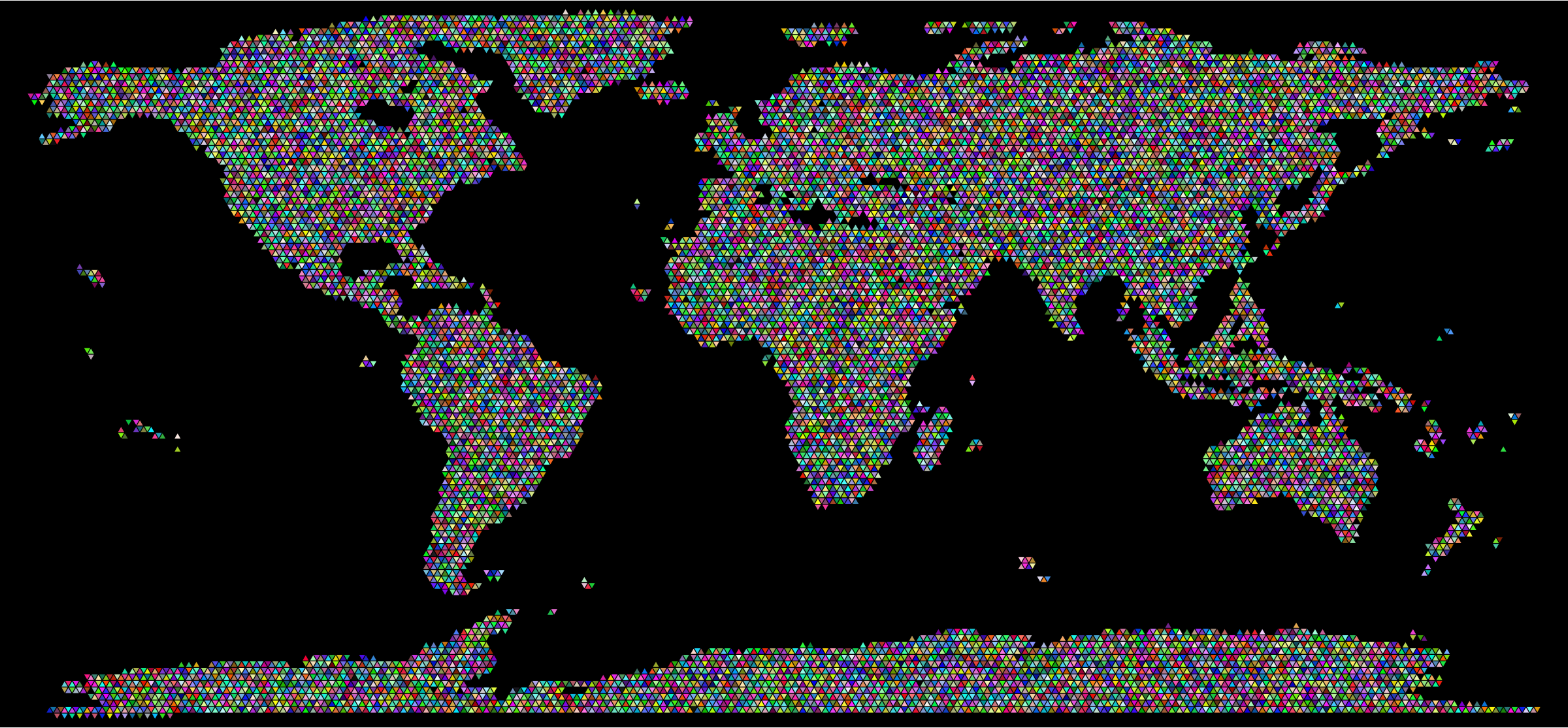Prismatic World Map Triangularized Mosaic With Background by GDJ