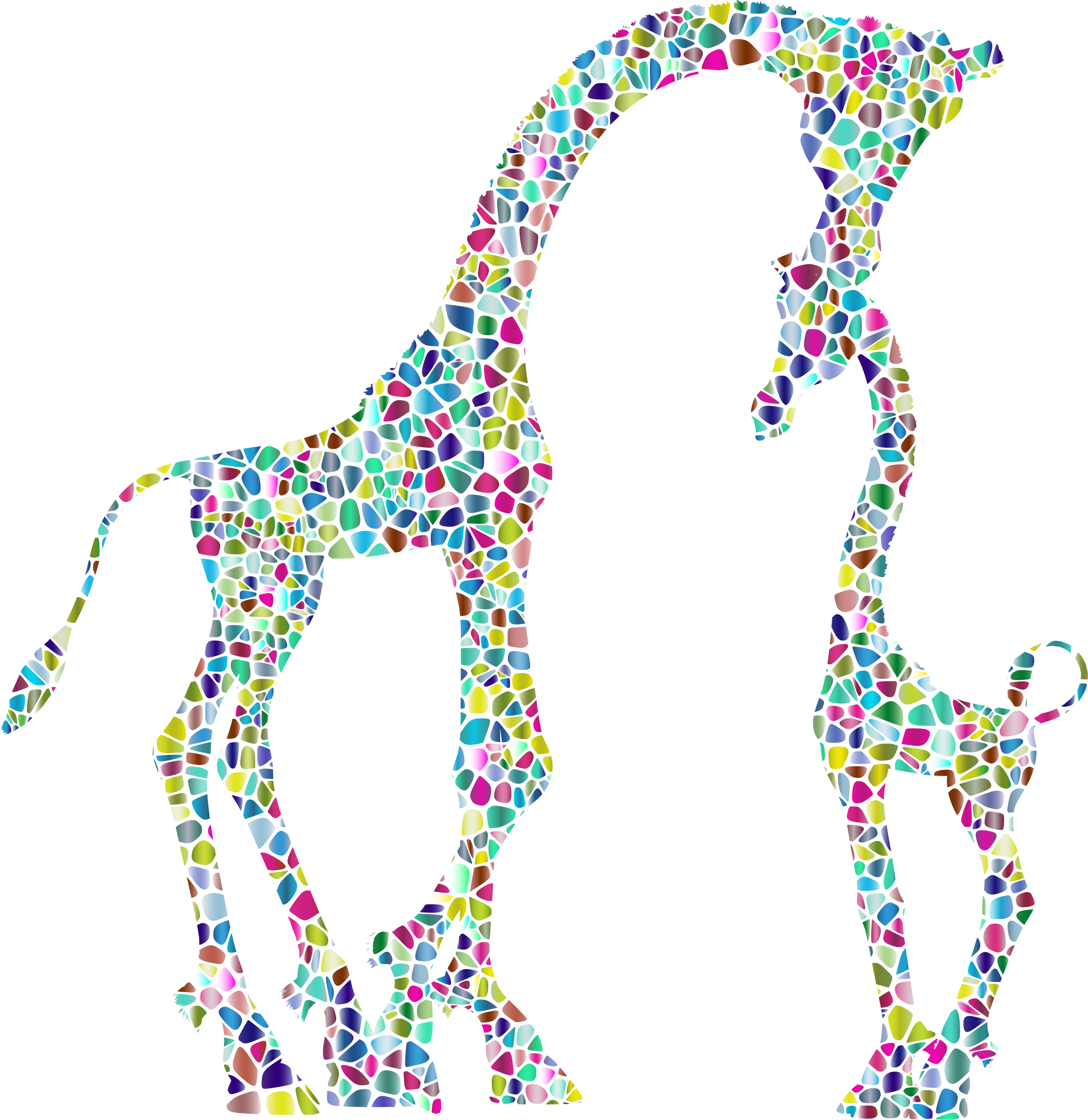 Polyprismatic Tiled Mother And Child Giraffe Silhouette Variation 2 No Background by GDJ