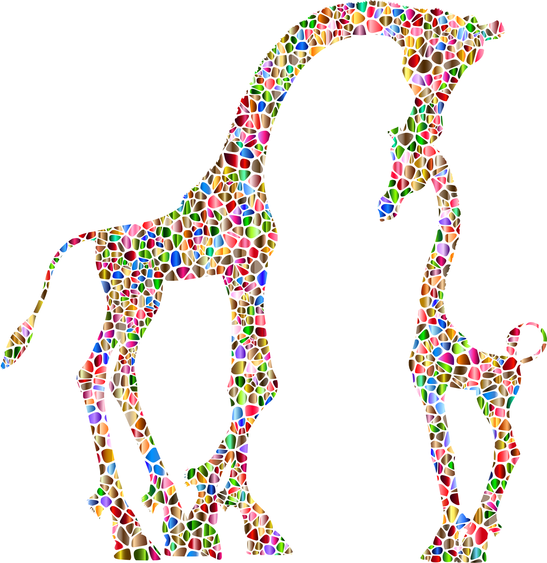 Polychromatic Tiled Mother And Child Giraffe Silhouette Variation 2 No Background by GDJ