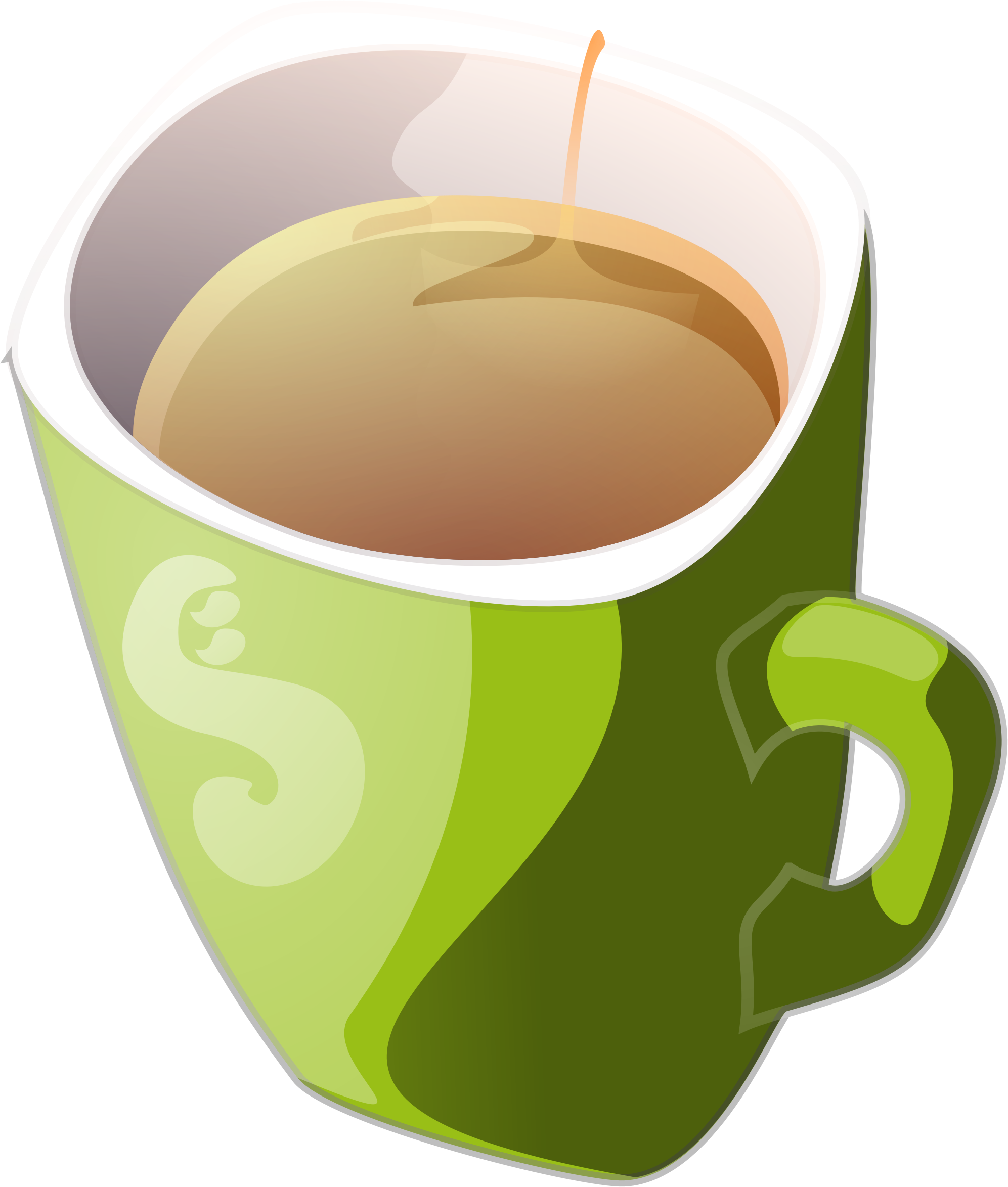 green mug of tea by Anonymous