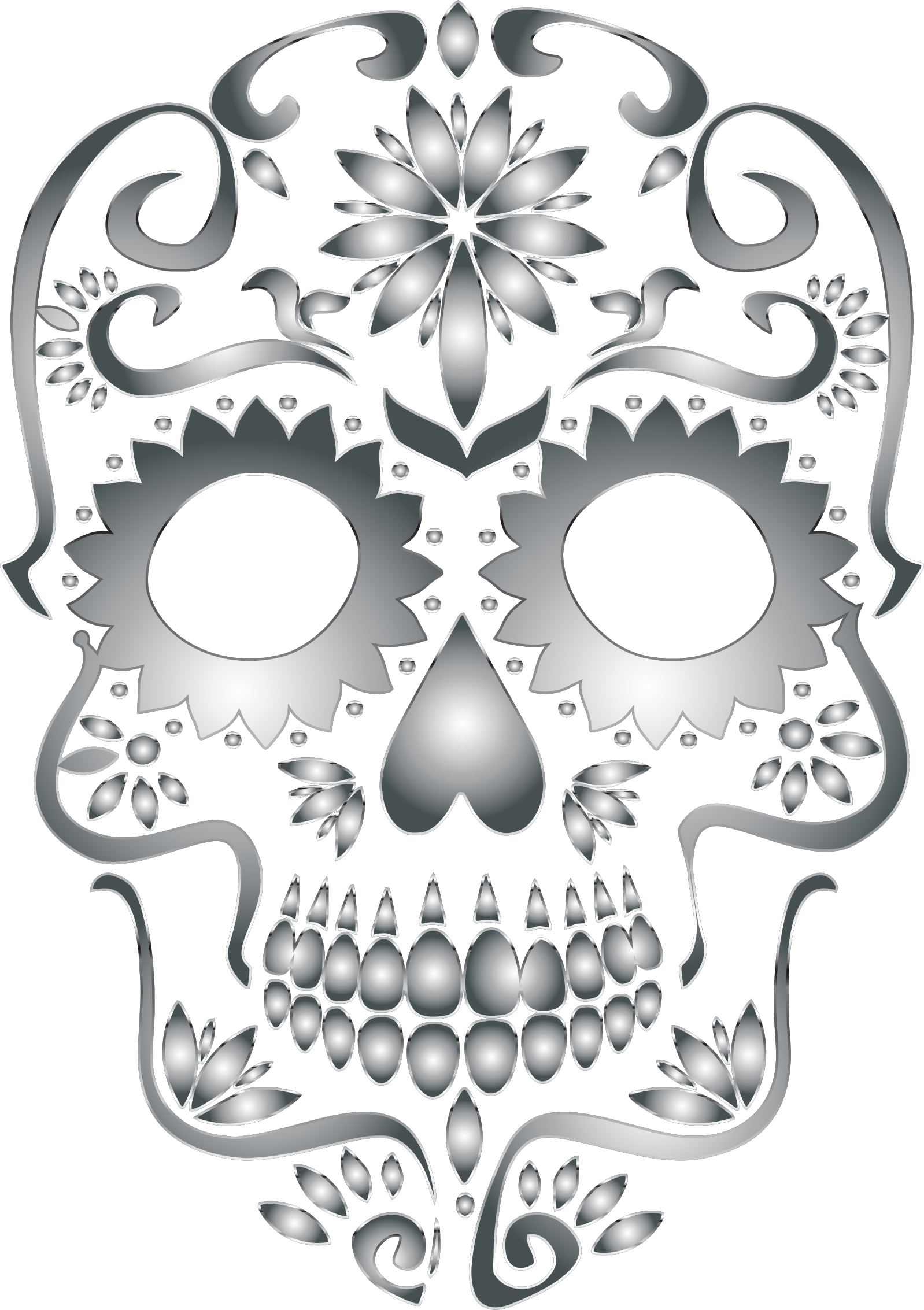 Stainless Steel Sugar Skull Silhouette No Background by GDJ