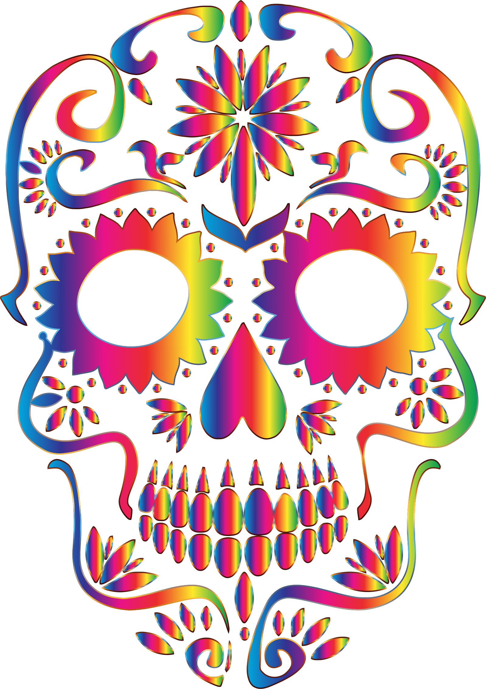 Rainbow Sugar Skull Silhouette No Background by GDJ
