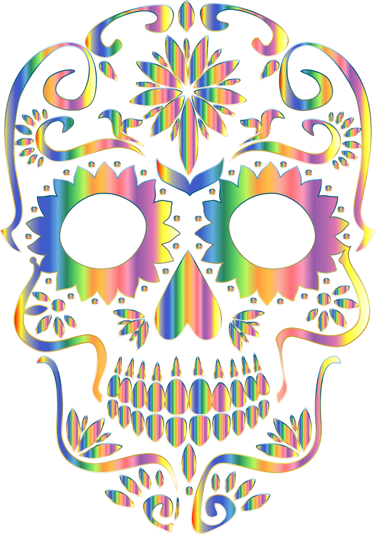 Psychedelic Sugar Skull Silhouette No Background by GDJ
