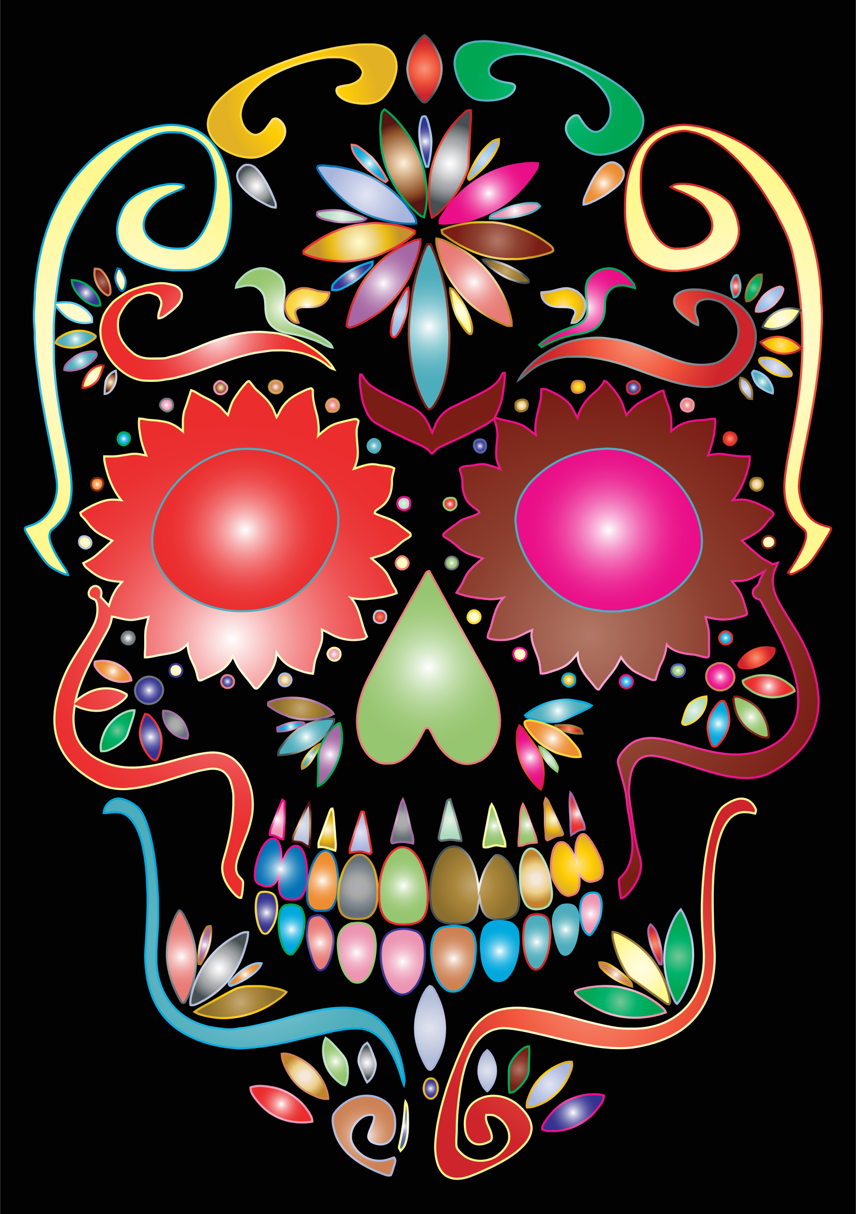 Prismatic Sugar Skull Silhouette by GDJ