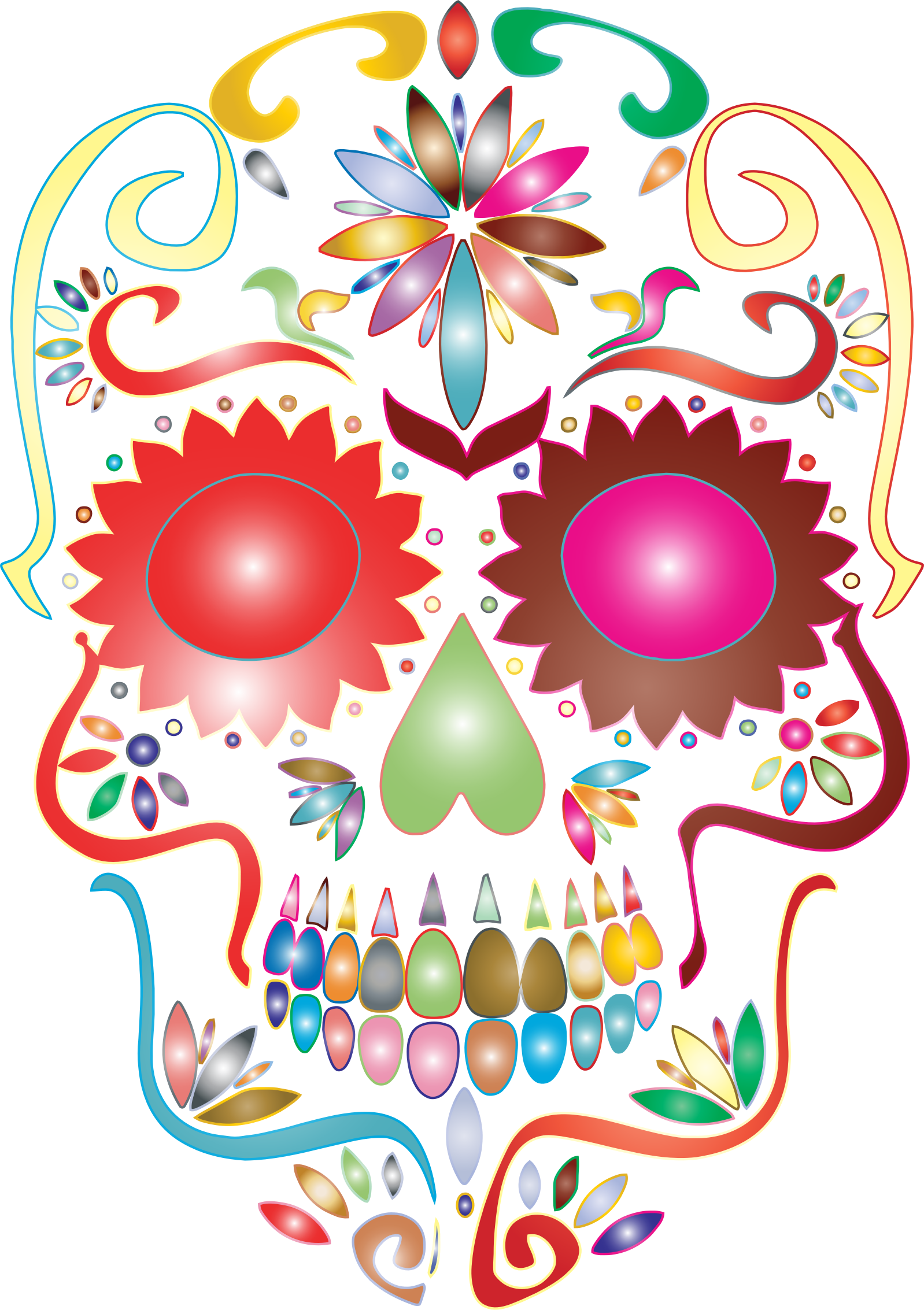 Prismatic Sugar Skull Silhouette No Background by GDJ