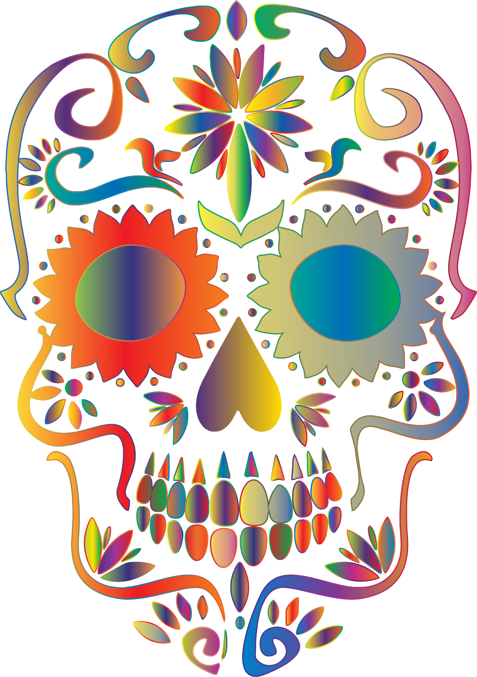 Prismatic Sugar Skull Silhouette 2 No Background by GDJ