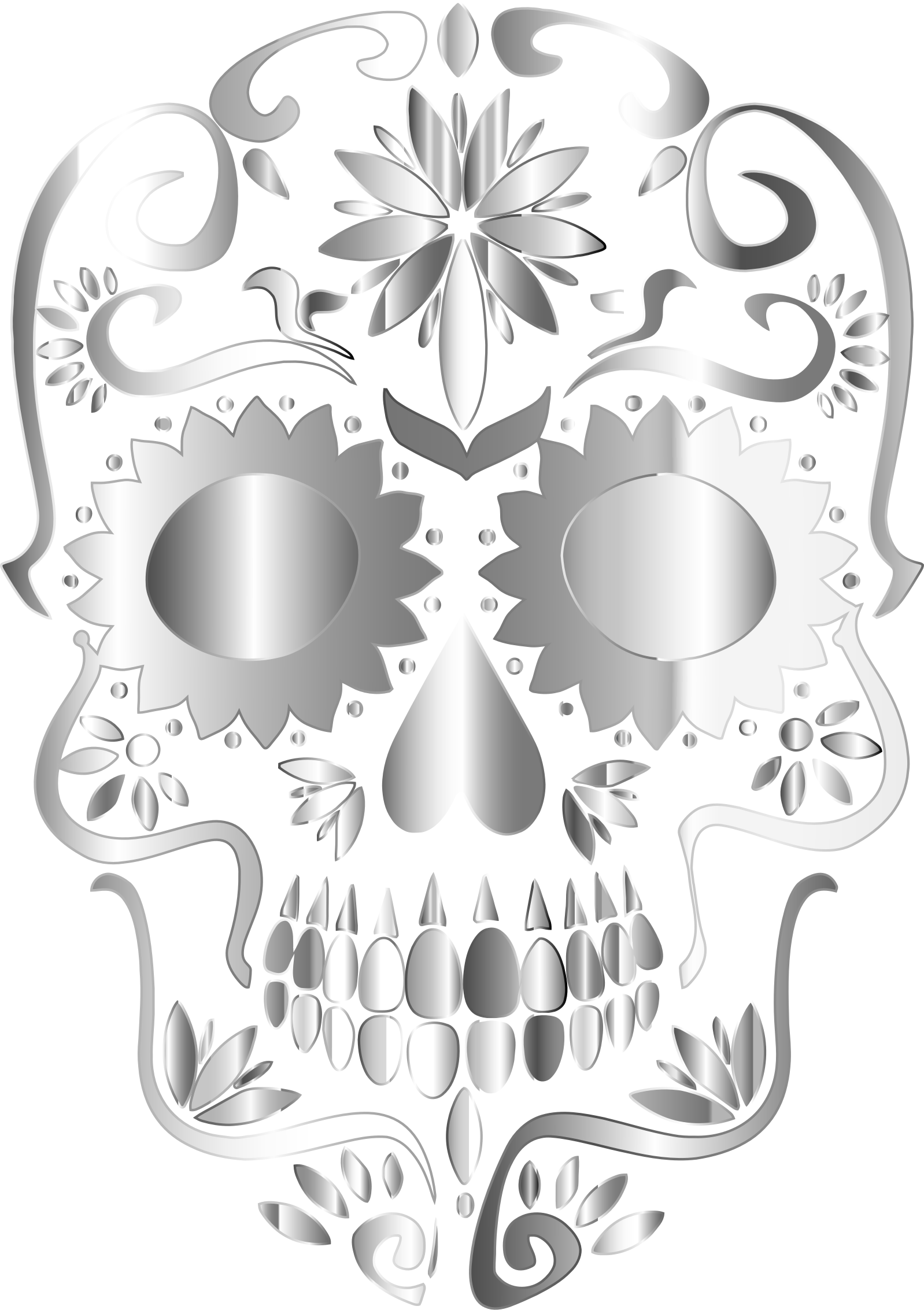 Prismatic Sugar Skull Silhouette 3 No Background by GDJ