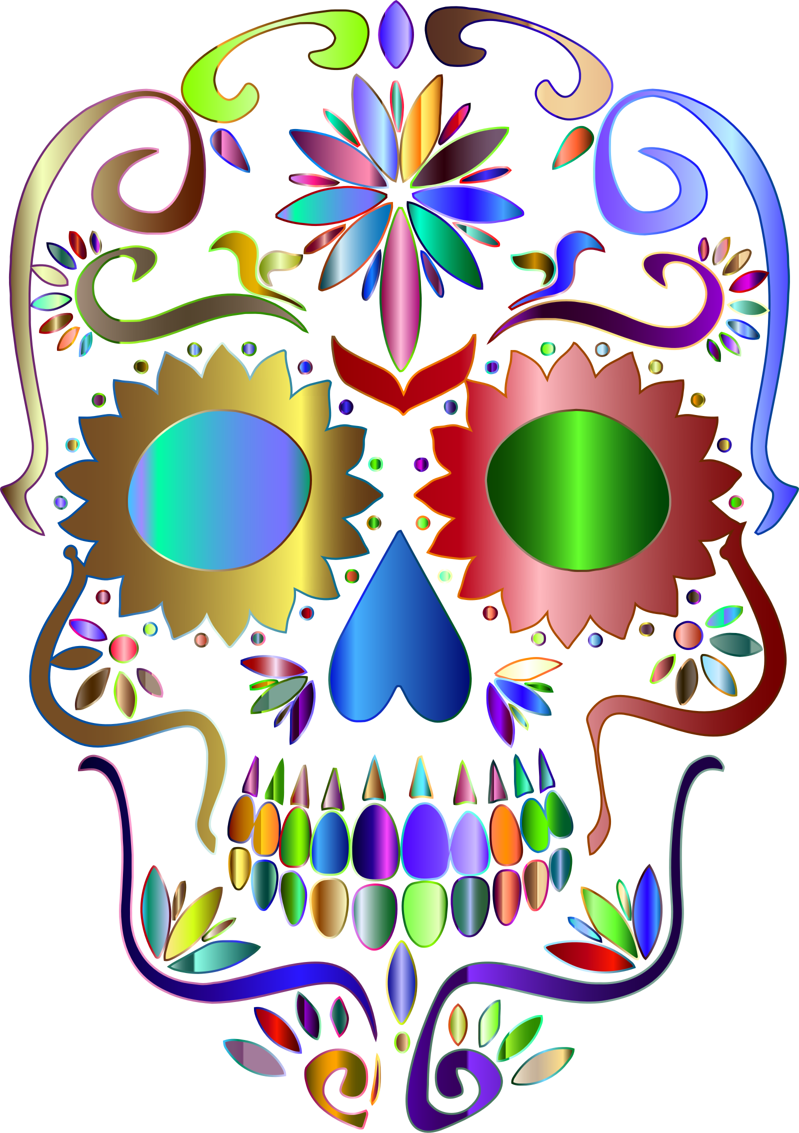 Prismatic Sugar Skull Silhouette 4 No Background by GDJ