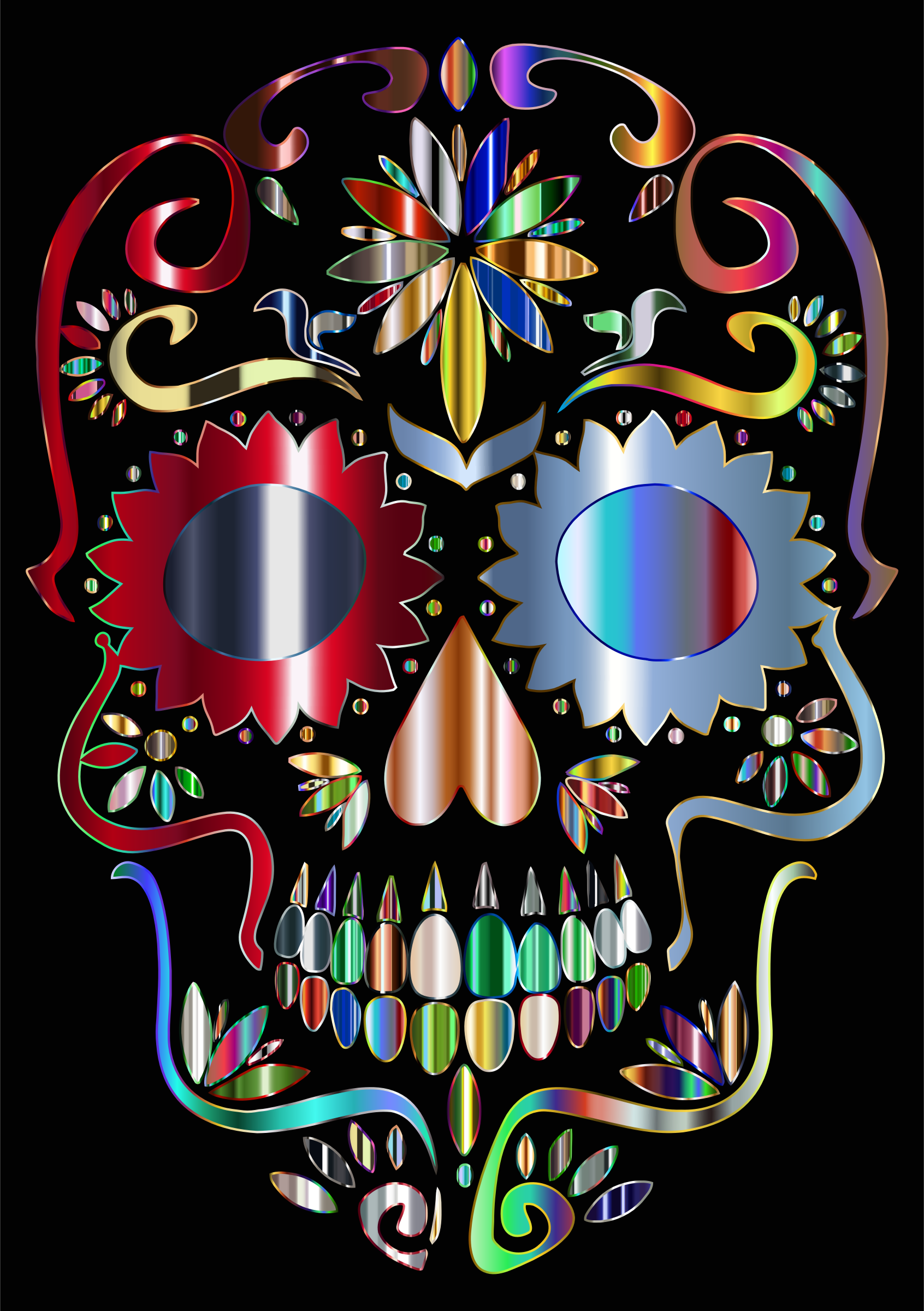 Prismatic Sugar Skull Silhouette 5 by GDJ