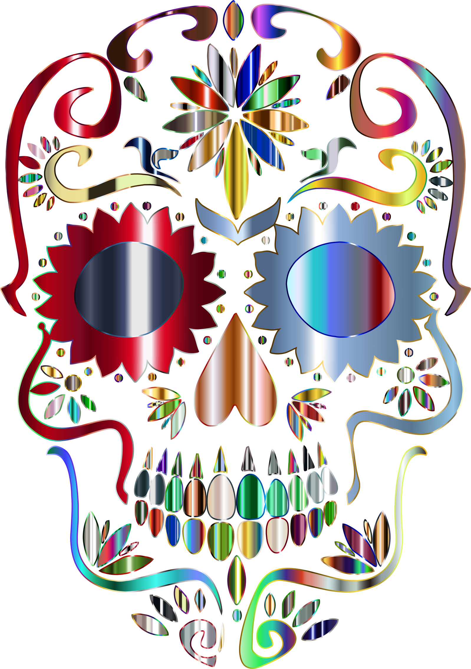 Prismatic Sugar Skull Silhouette 5 No Background by GDJ