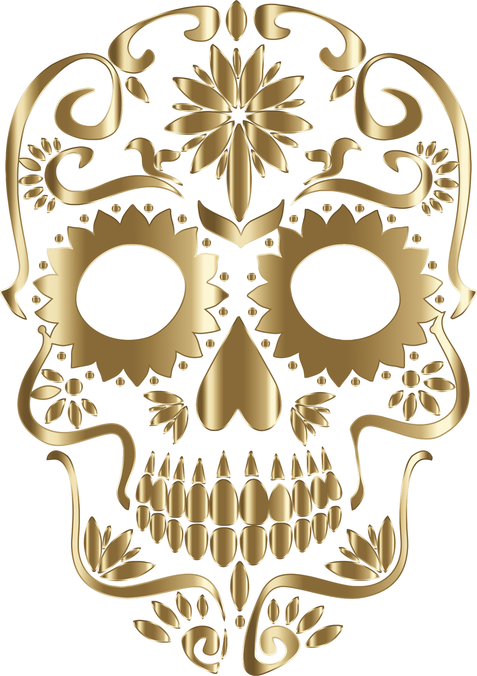 Polished Copper Sugar Skull Silhouette No Background by GDJ