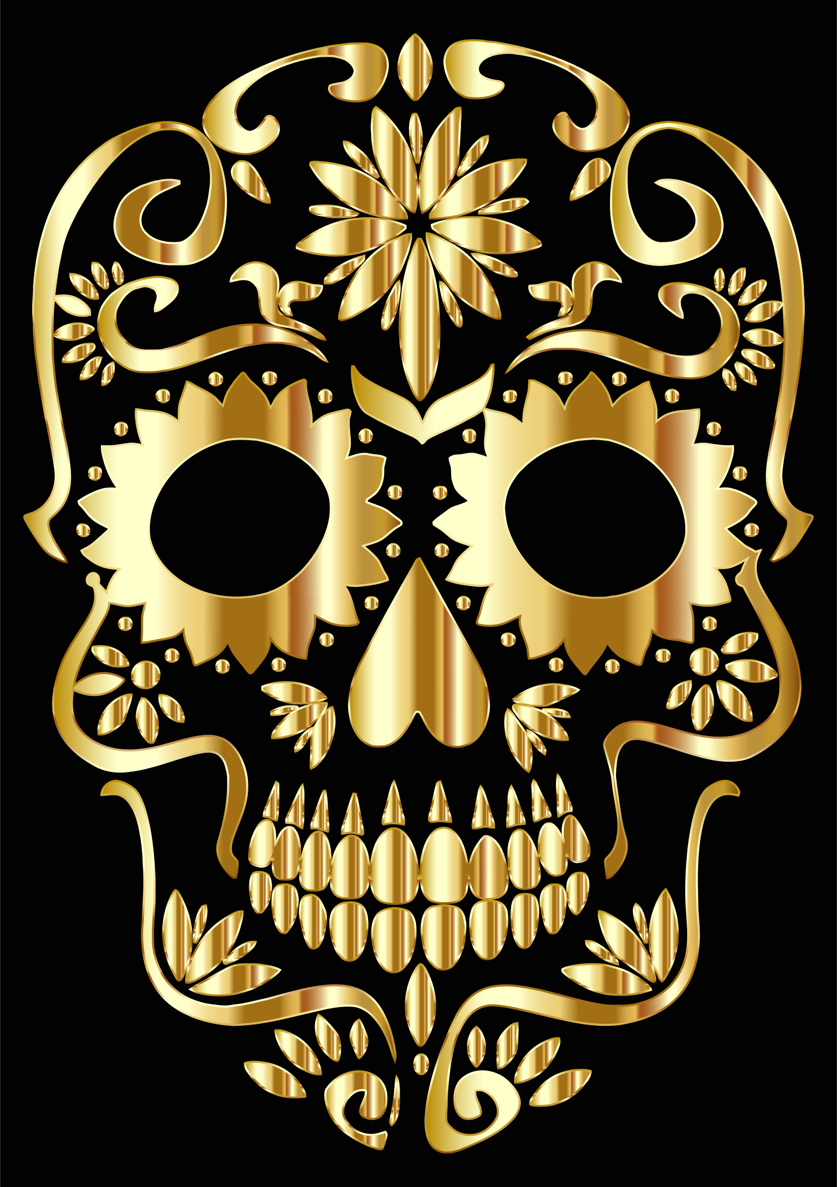 Clipart - Gold Sugar Skull Silhouette