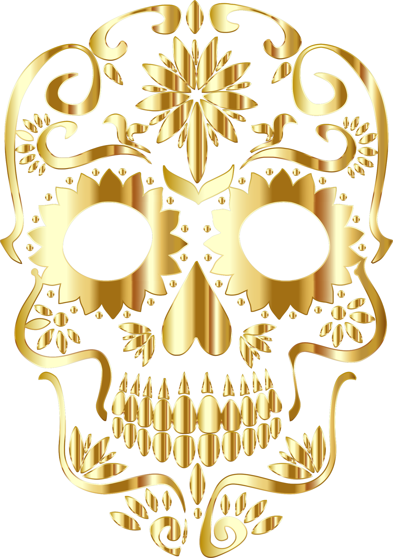 Gold Sugar Skull Silhouette No Background by GDJ