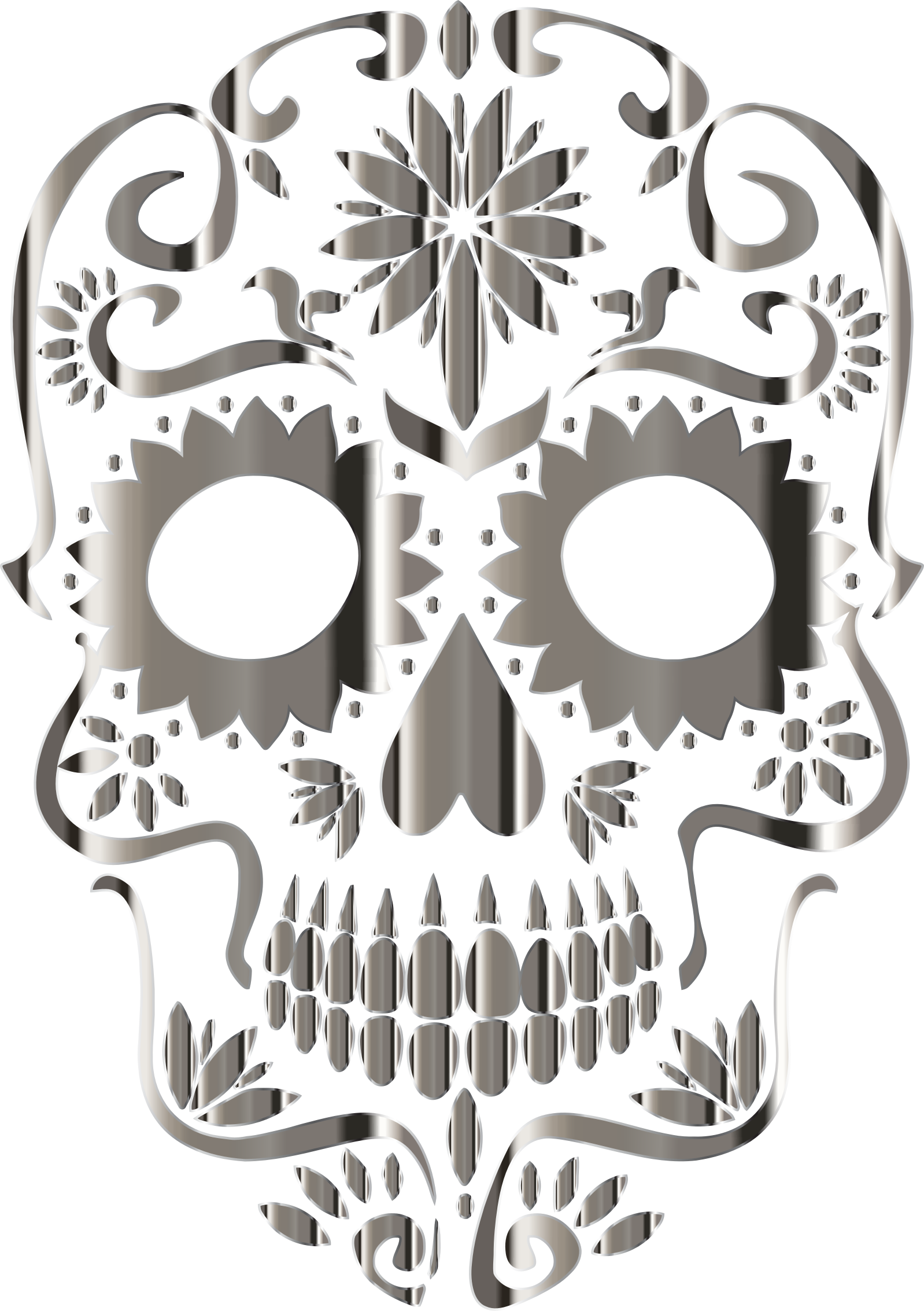 Chrome Sugar Skull Silhouette No Background by GDJ
