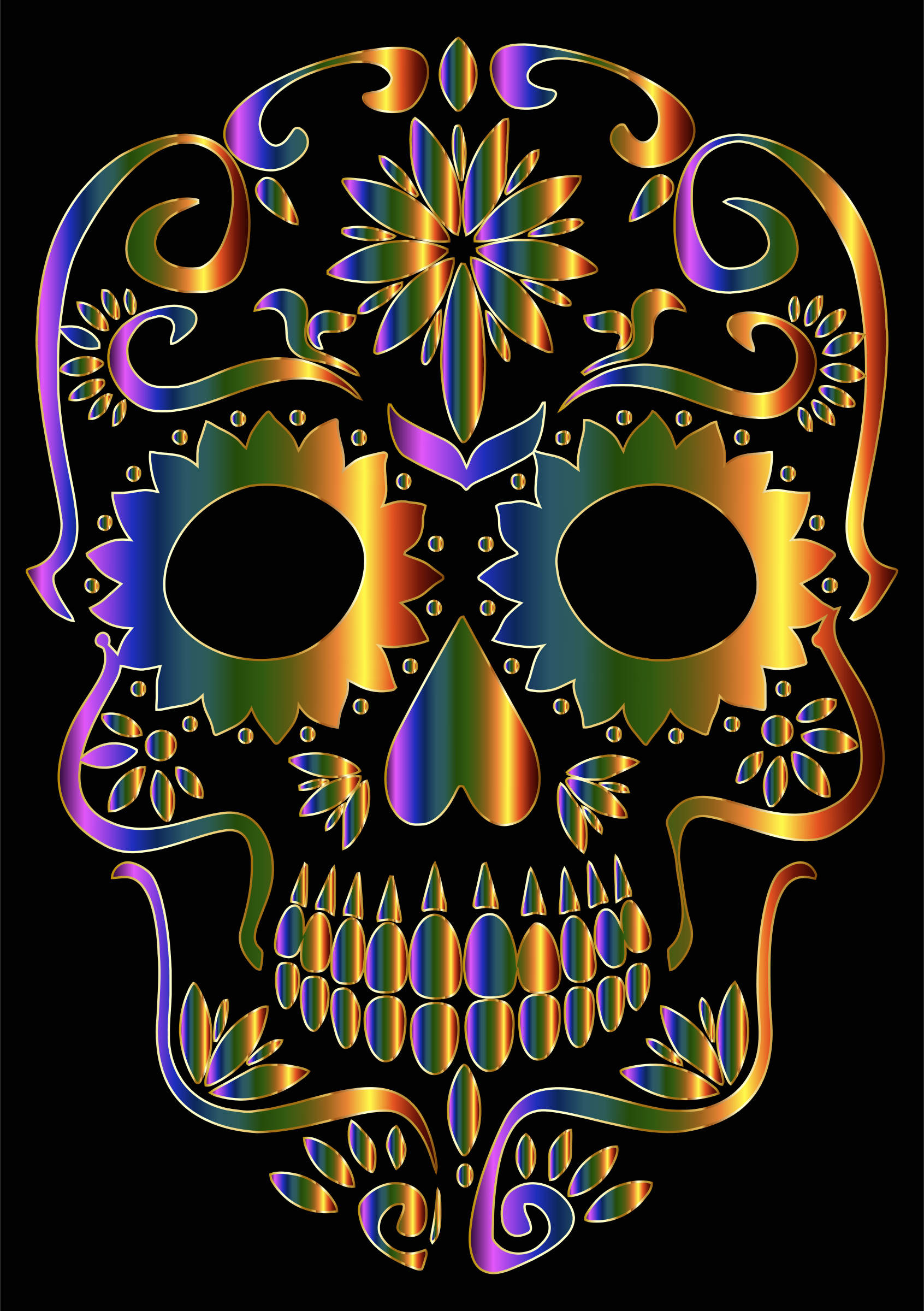 Chromatic Sugar Skull Silhouette by GDJ